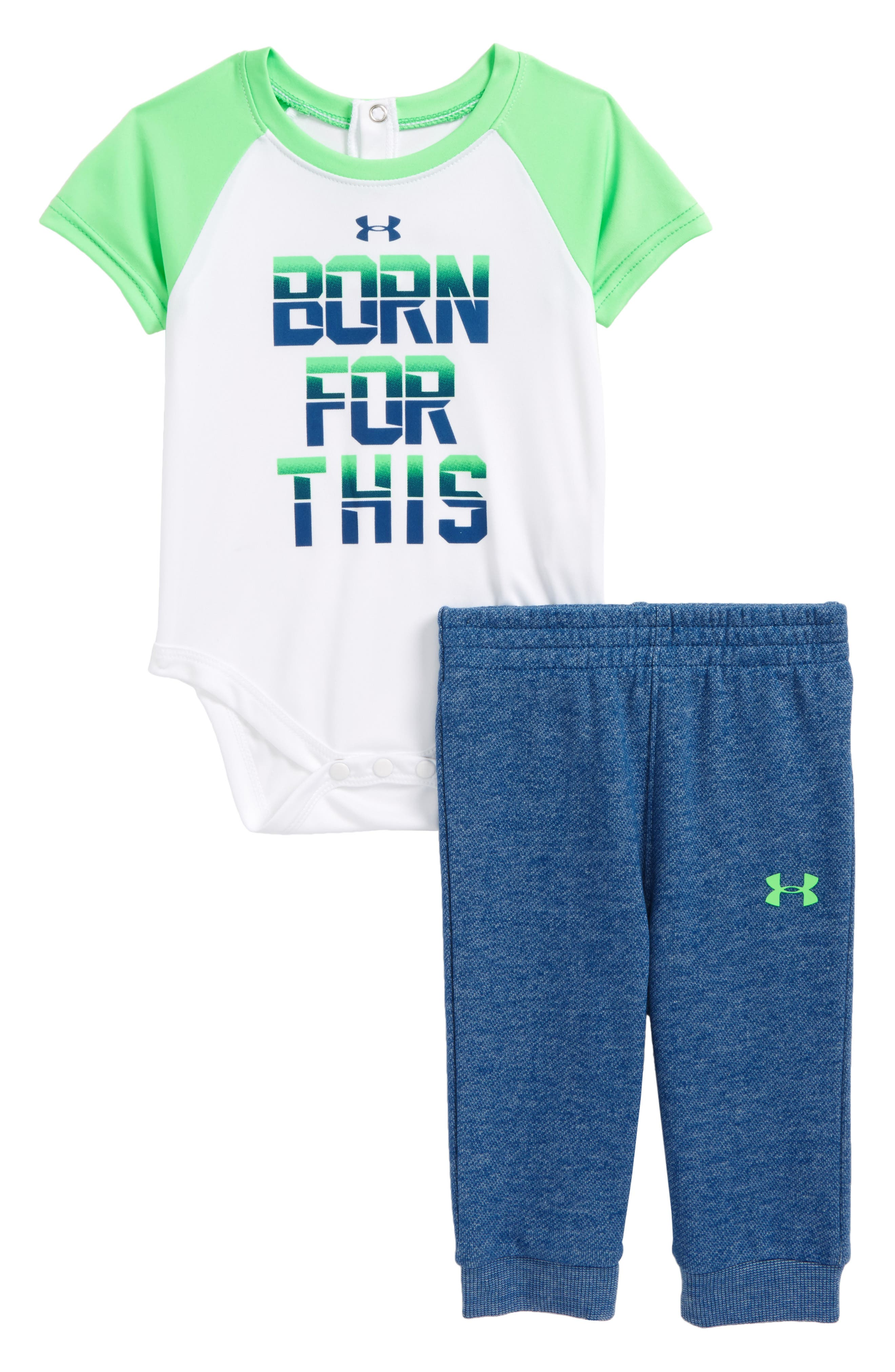 Alternate Image 1 Selected - Under Armour Born For This Bodysuit & Pants Set (Baby Boys)