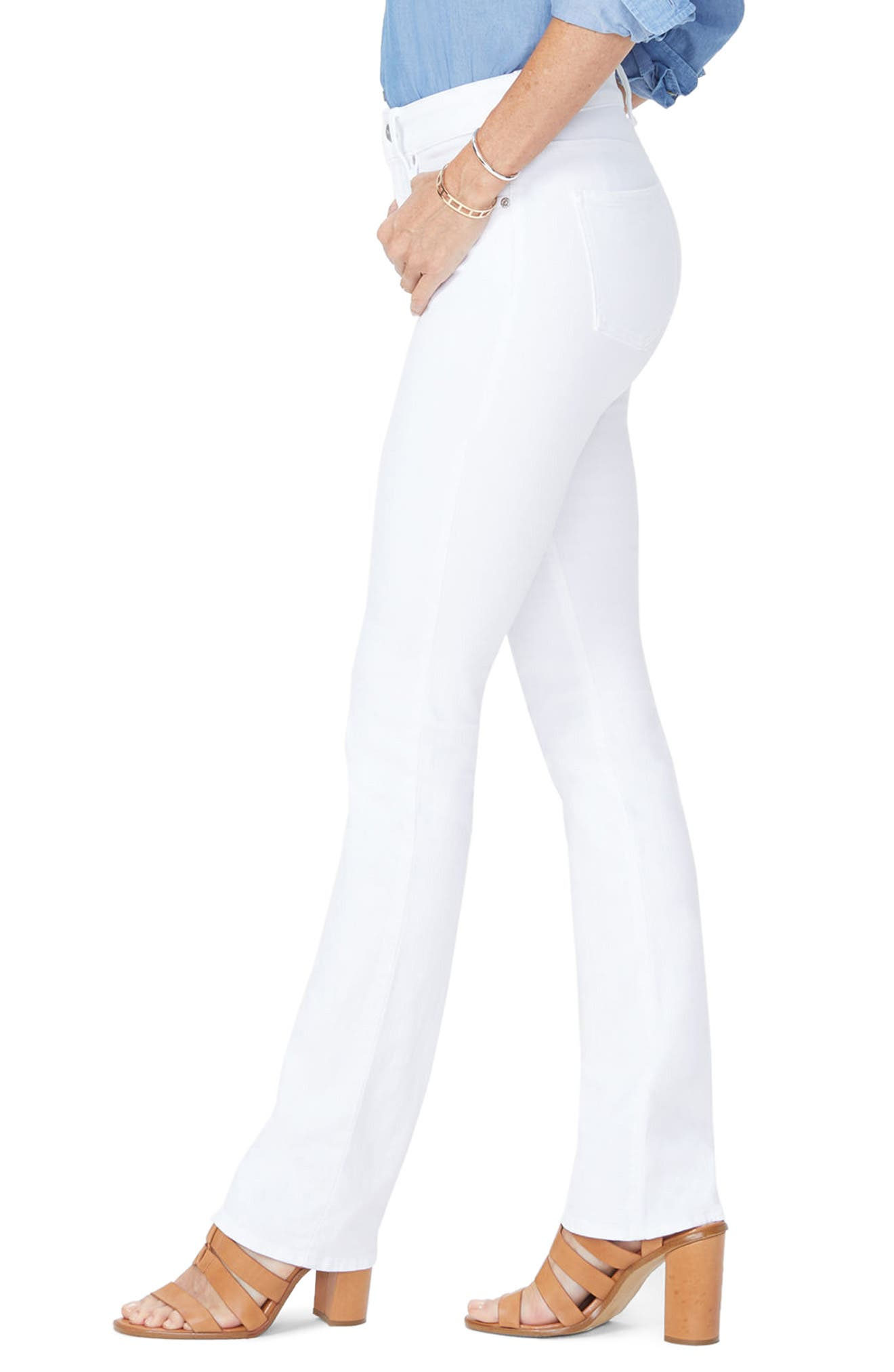 Billie Mini Bootcut Jeans,                             Alternate thumbnail 3, color,                             Optic White