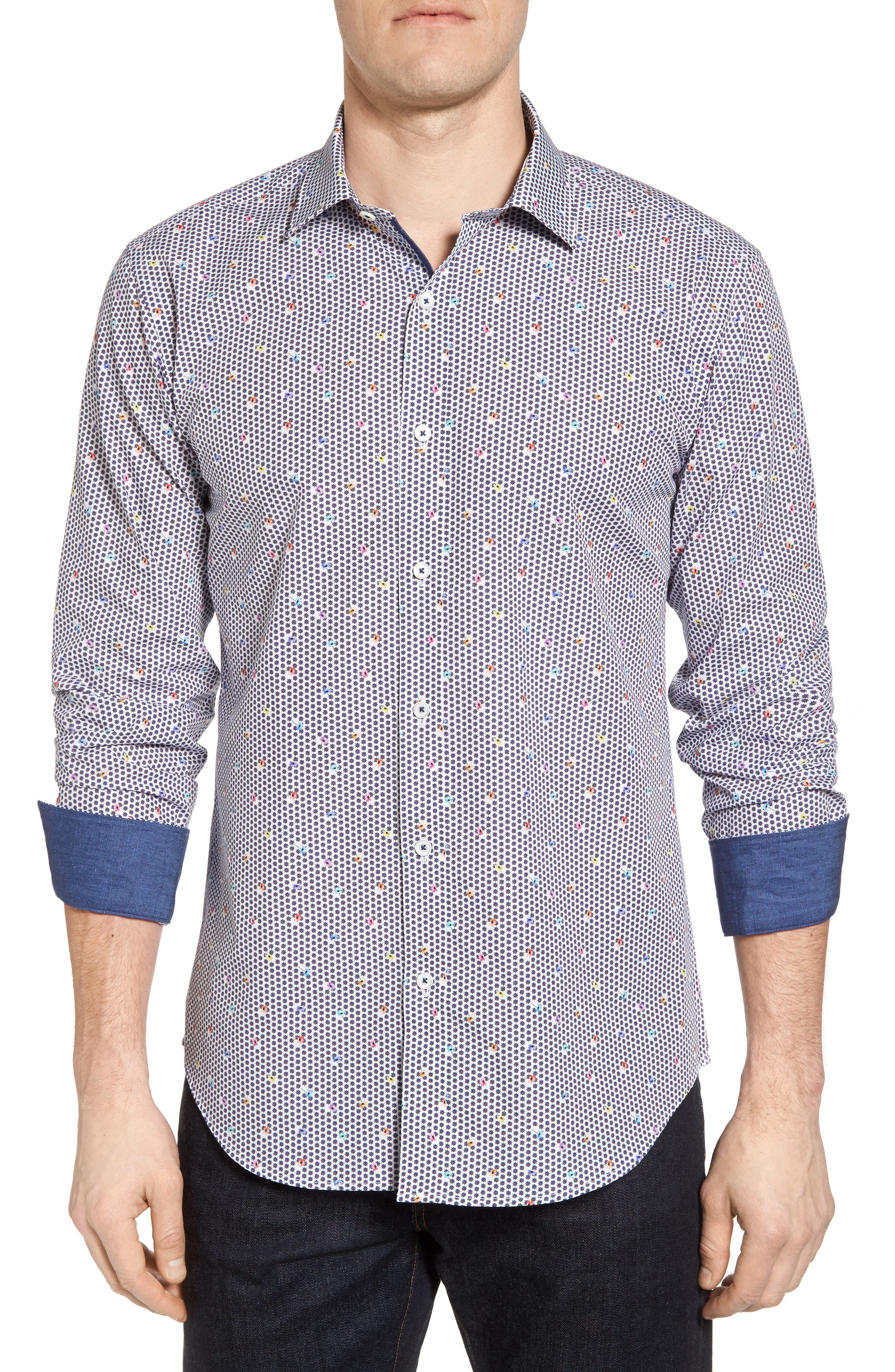 Bugatchi Floral Print Shaped Fit Sport Shirt