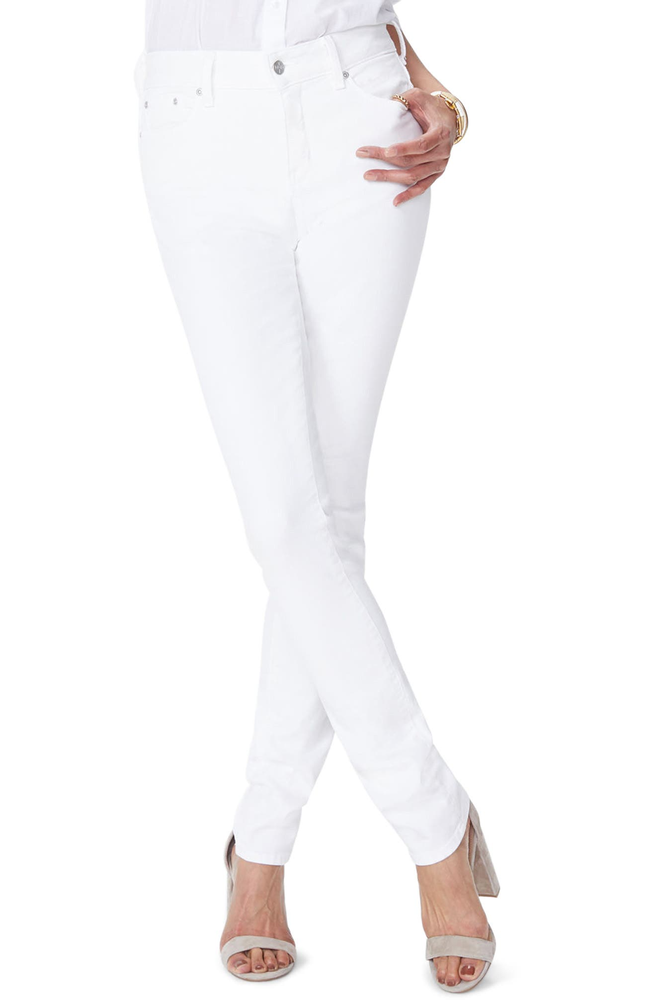 Alternate Image 1 Selected - NYDJ Marilyn Stretch Straight Jeans (Optic White)
