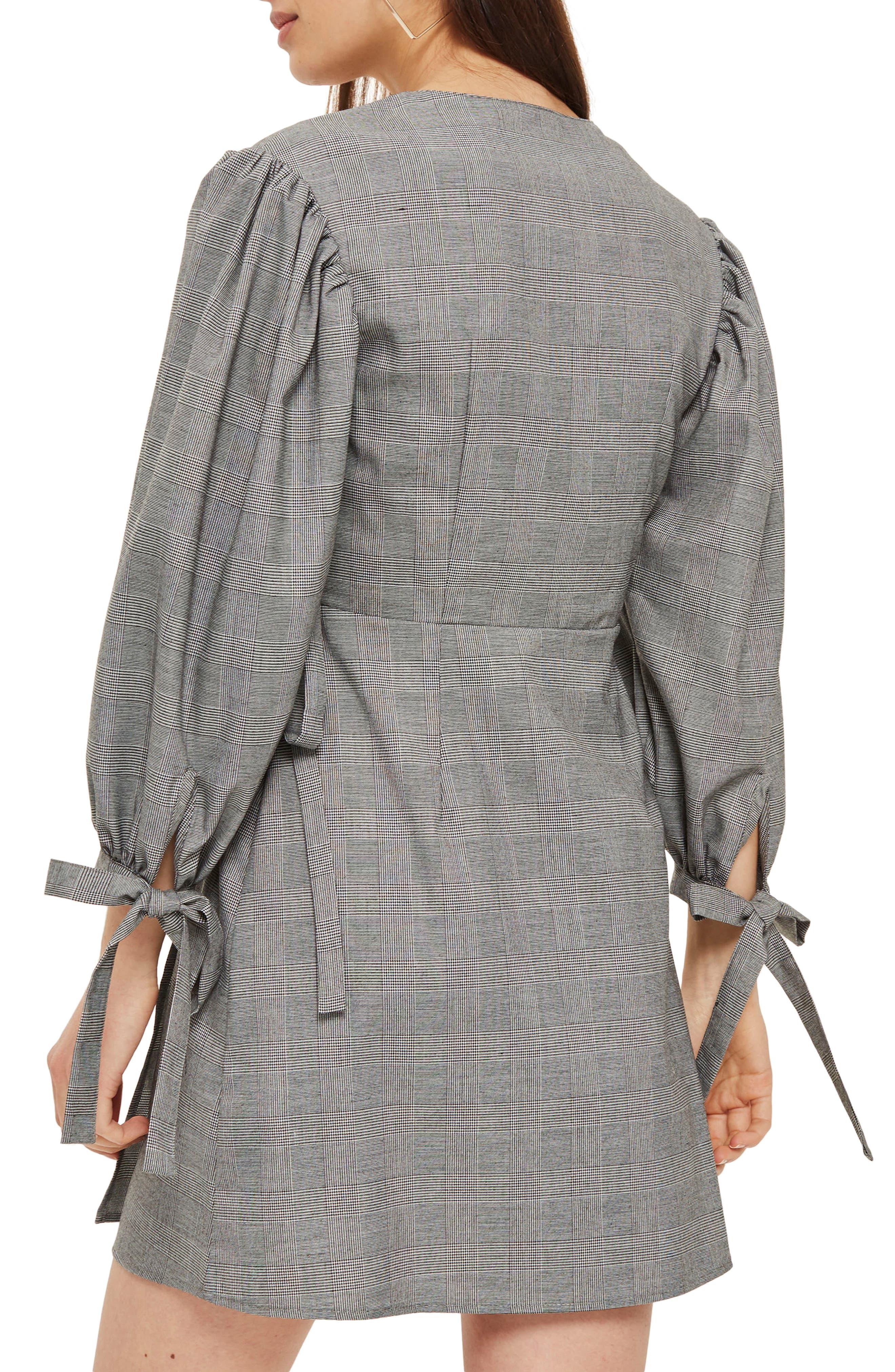 Tie Cuff Wrap Minidress,                             Alternate thumbnail 2, color,                             Grey Multi