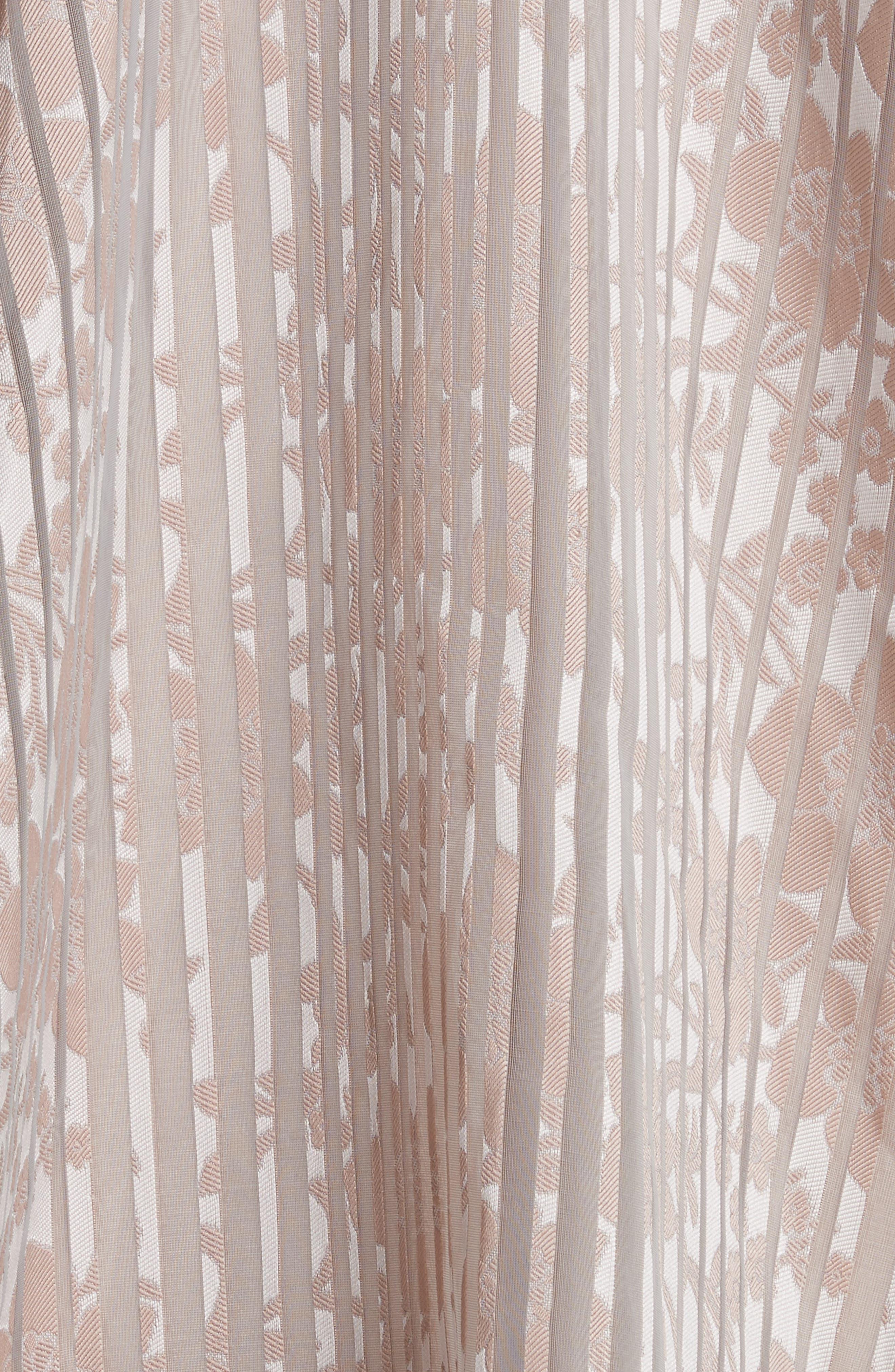 Platinum Metallic Texture Stripe Organza Gown,                             Alternate thumbnail 6, color,                             Mauve