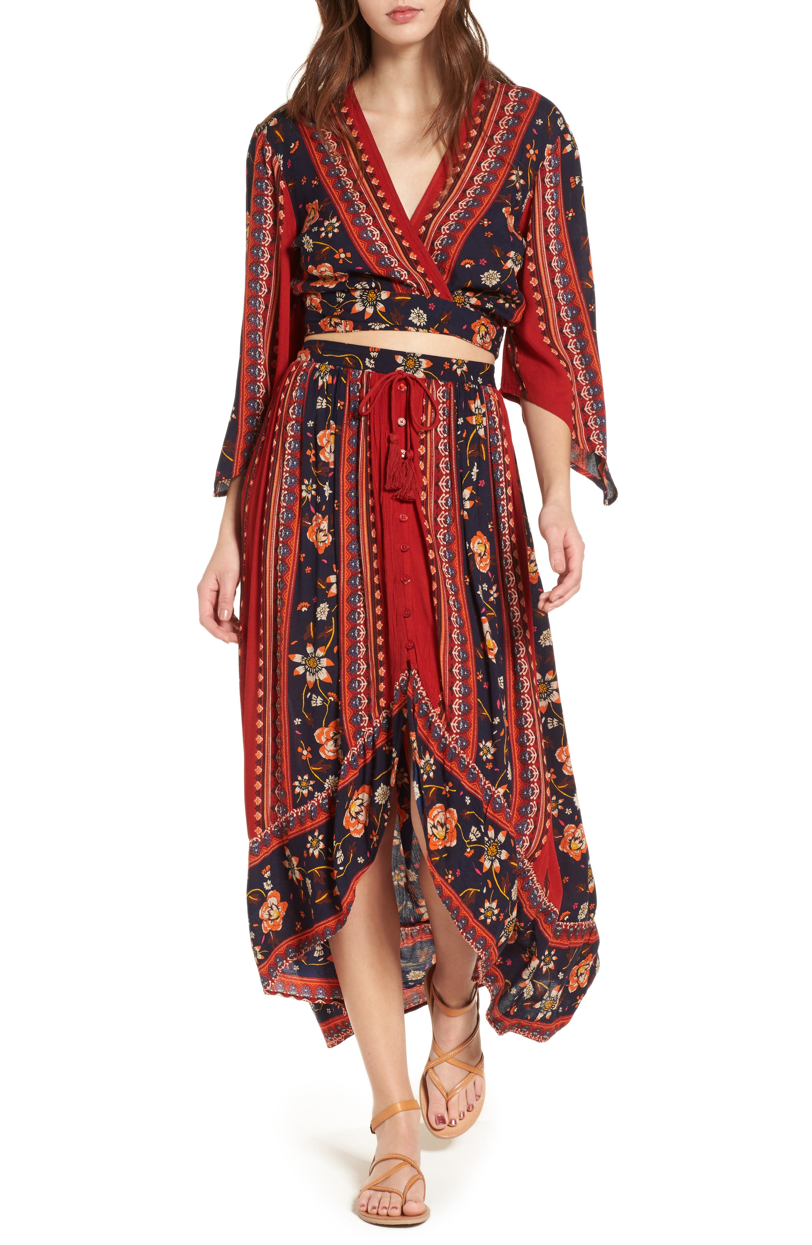 Alternate Image 2  - Band of Gypsies High/Low Button Front Skirt