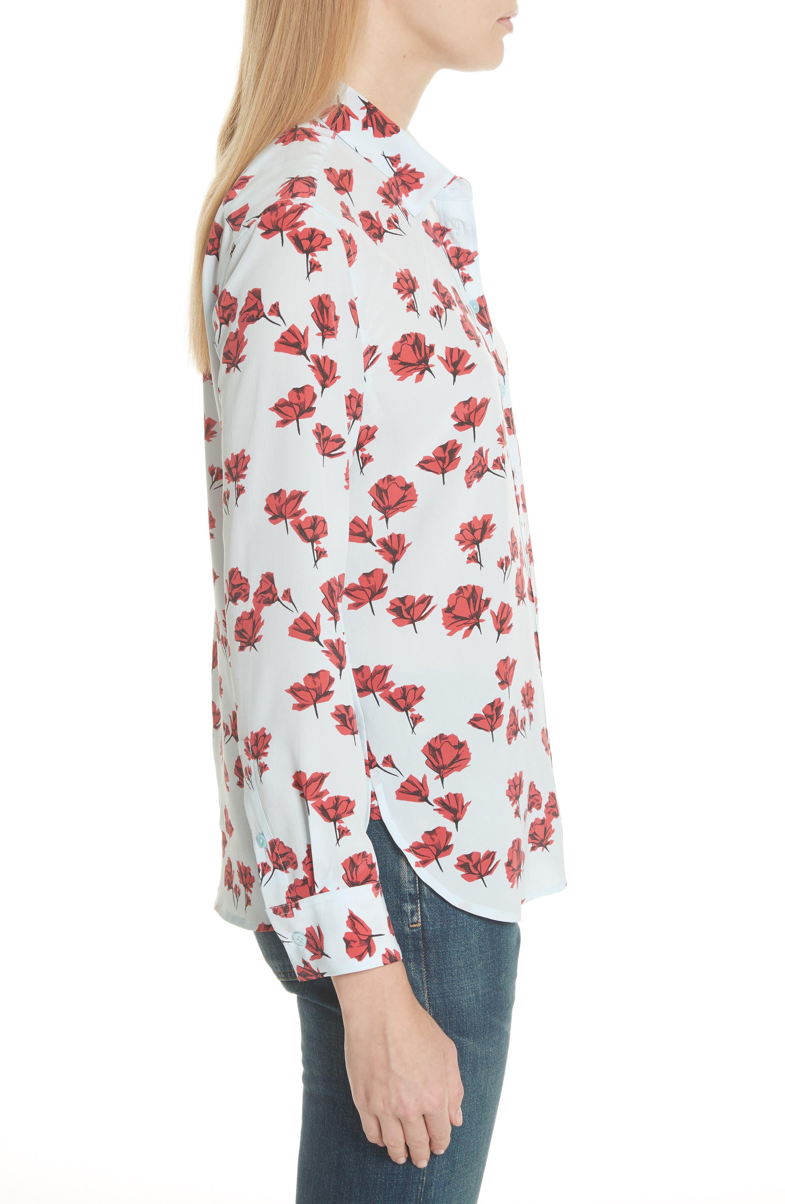 Leema Floral Silk Shirt,                             Alternate thumbnail 3, color,                             Cool Breeze