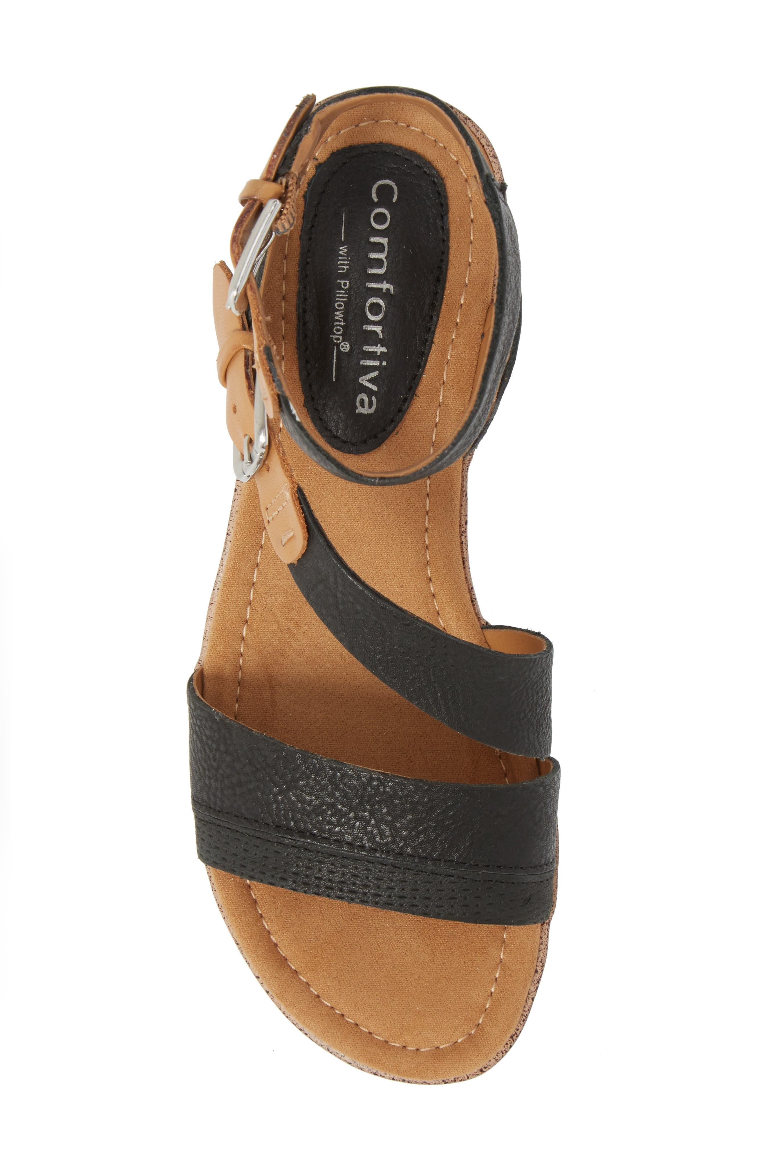 Corvina Sandal,                             Alternate thumbnail 5, color,                             Black/ Sand Leather