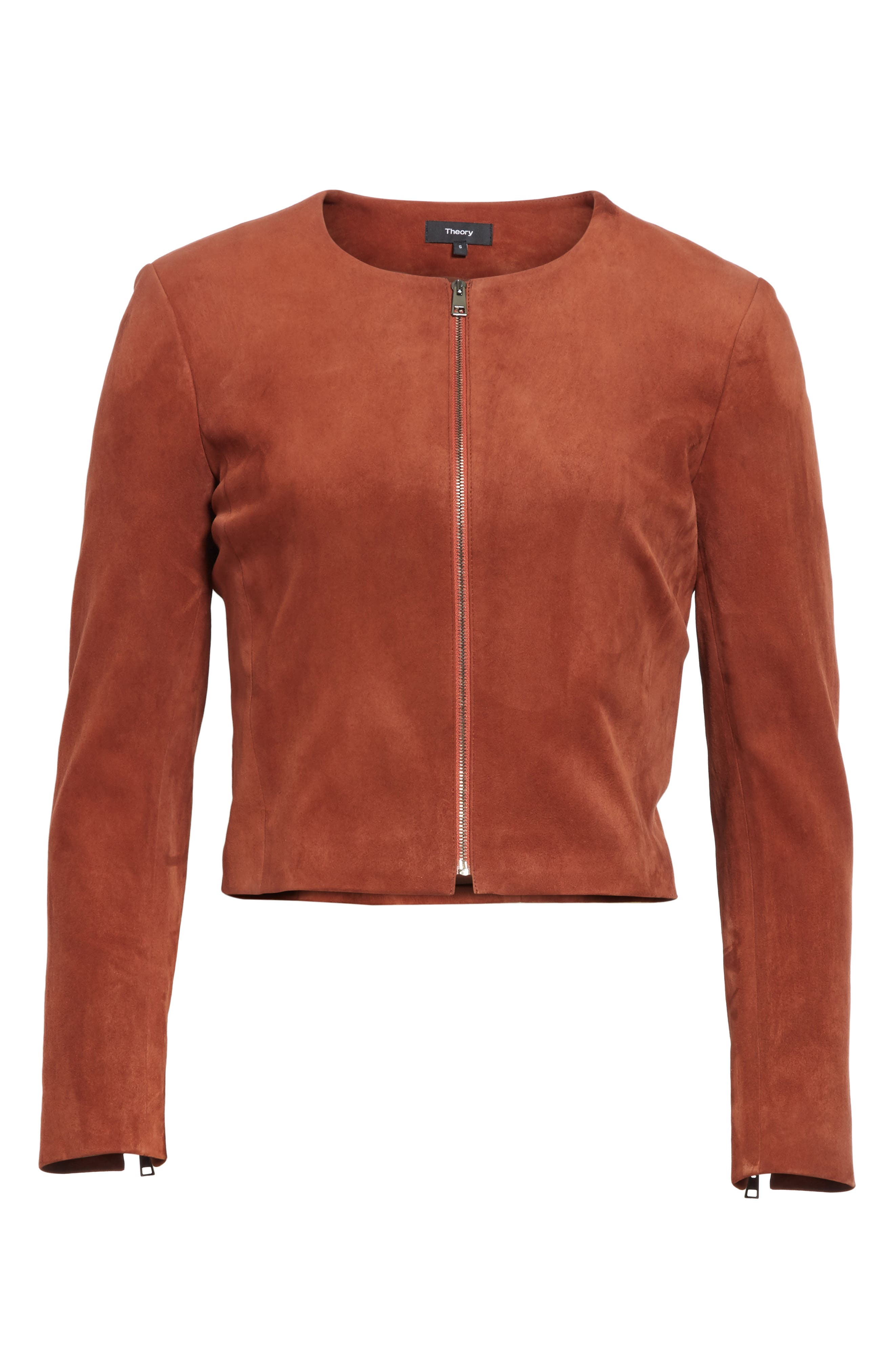 Morene Stretch Suede Jacket,                             Alternate thumbnail 6, color,                             Brown Russet