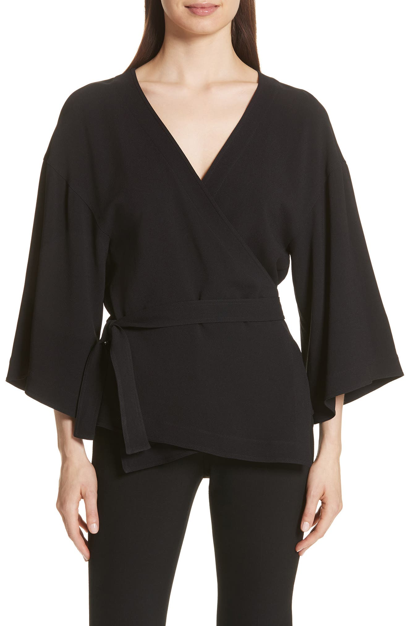 Theory Crepe Wrap Top