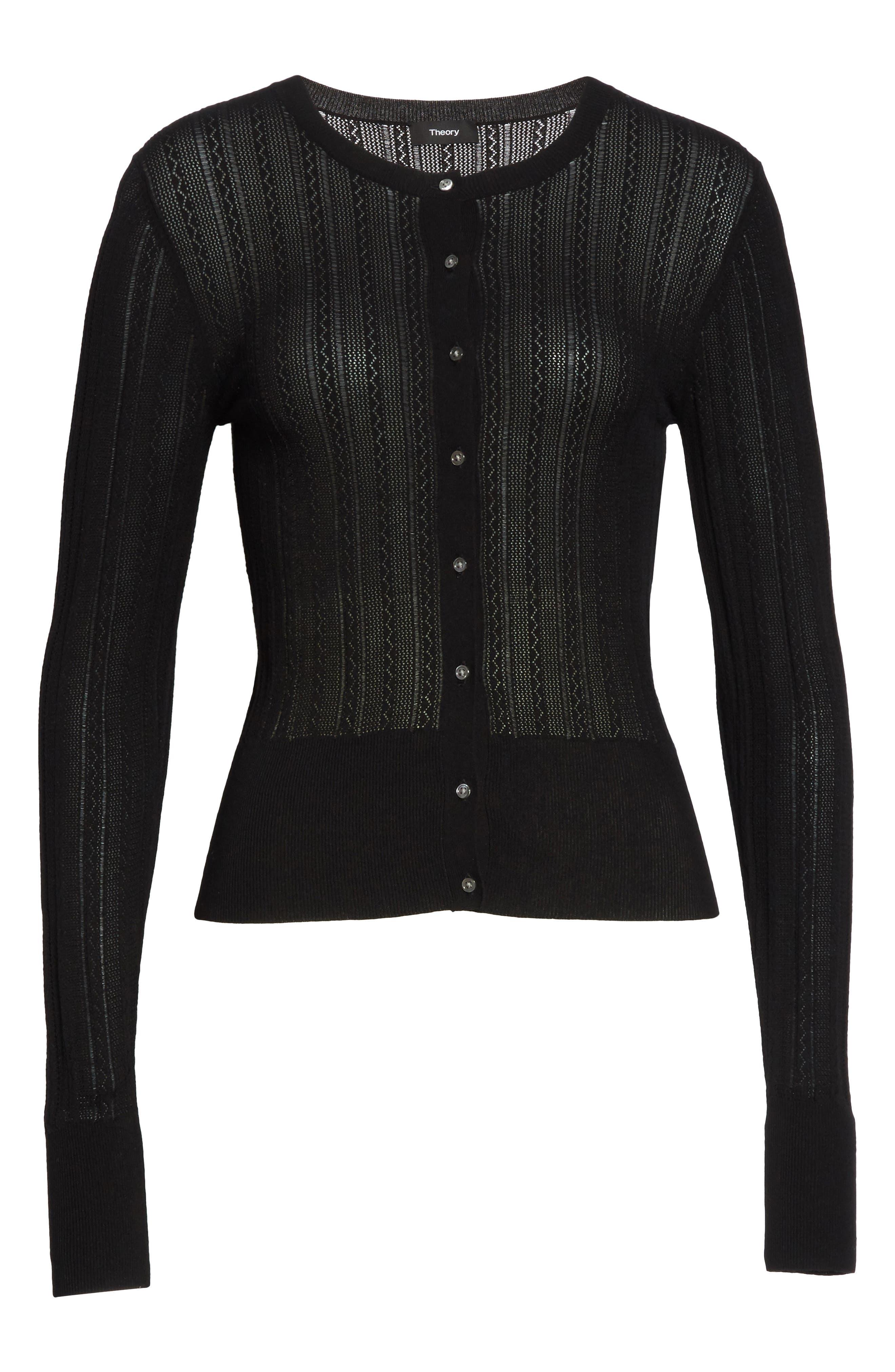 Prosecco Lace Knit Cardigan,                             Alternate thumbnail 6, color,                             Black