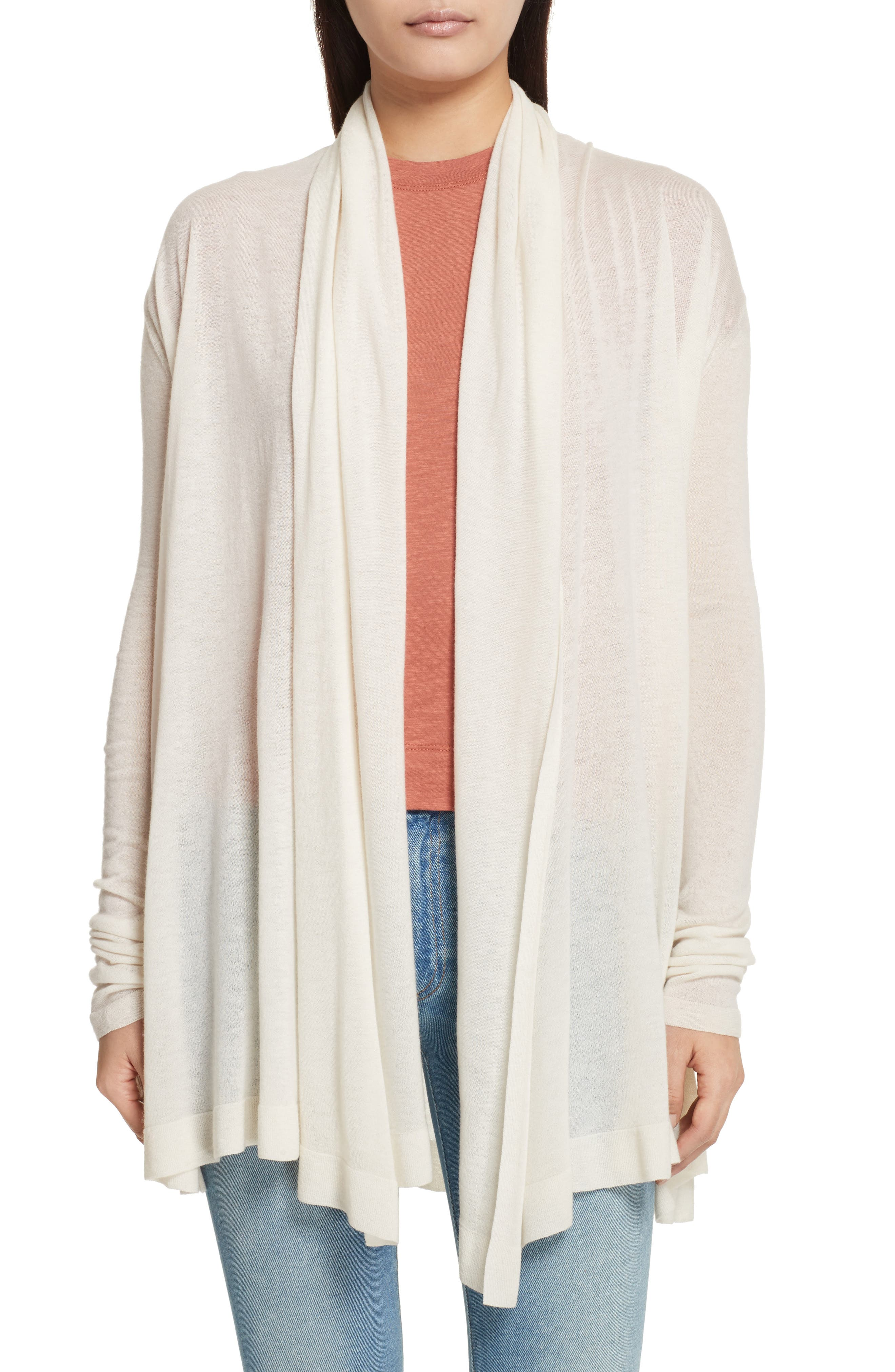 Featherweight Cashmere Cardigan,                             Main thumbnail 1, color,                             Ivory