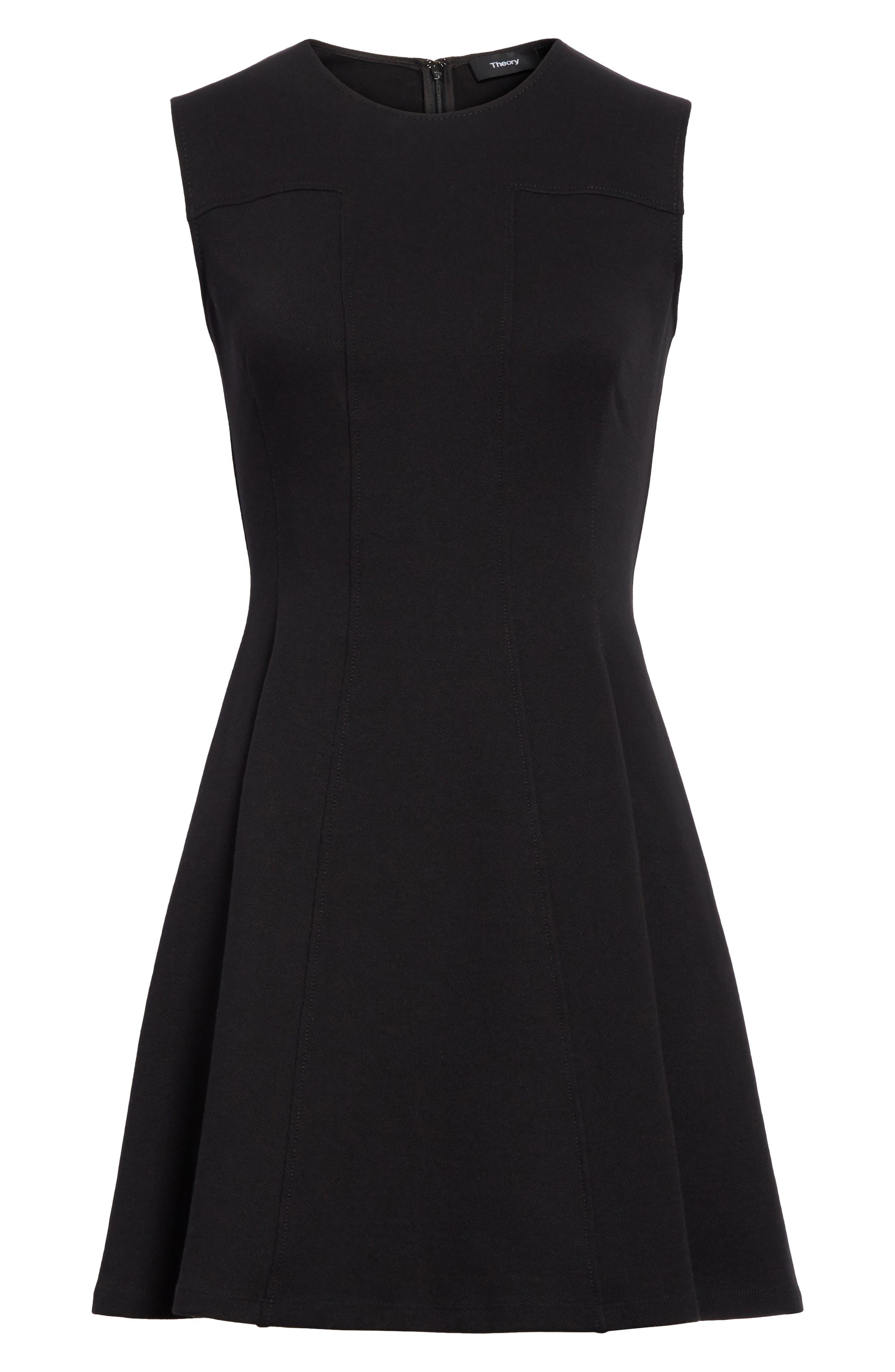 Piqué Fit & Flare Dress,                             Alternate thumbnail 6, color,                             Black