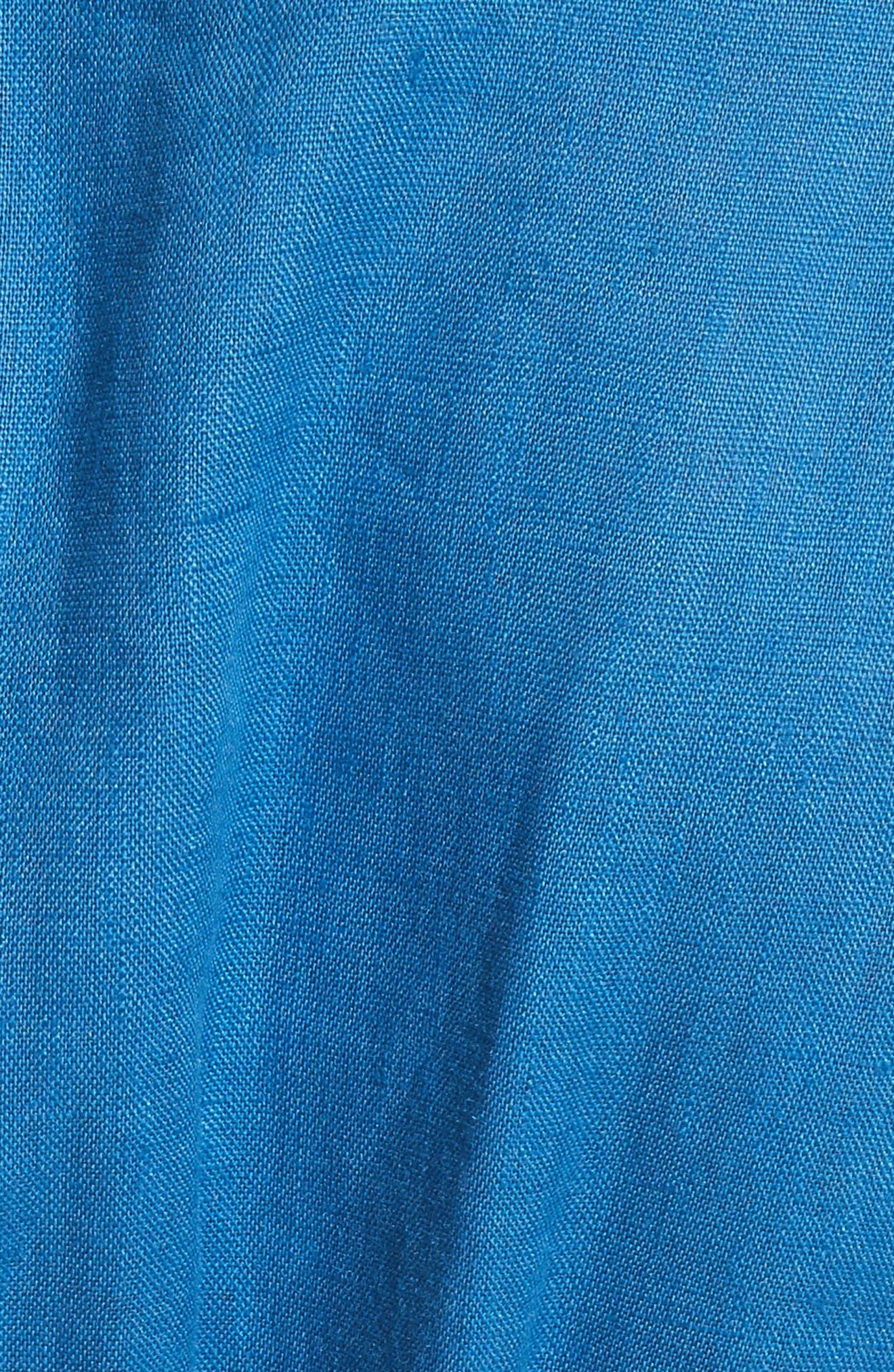 Coraline Pleated Button Front Linen Dress,                             Alternate thumbnail 5, color,                             Blue