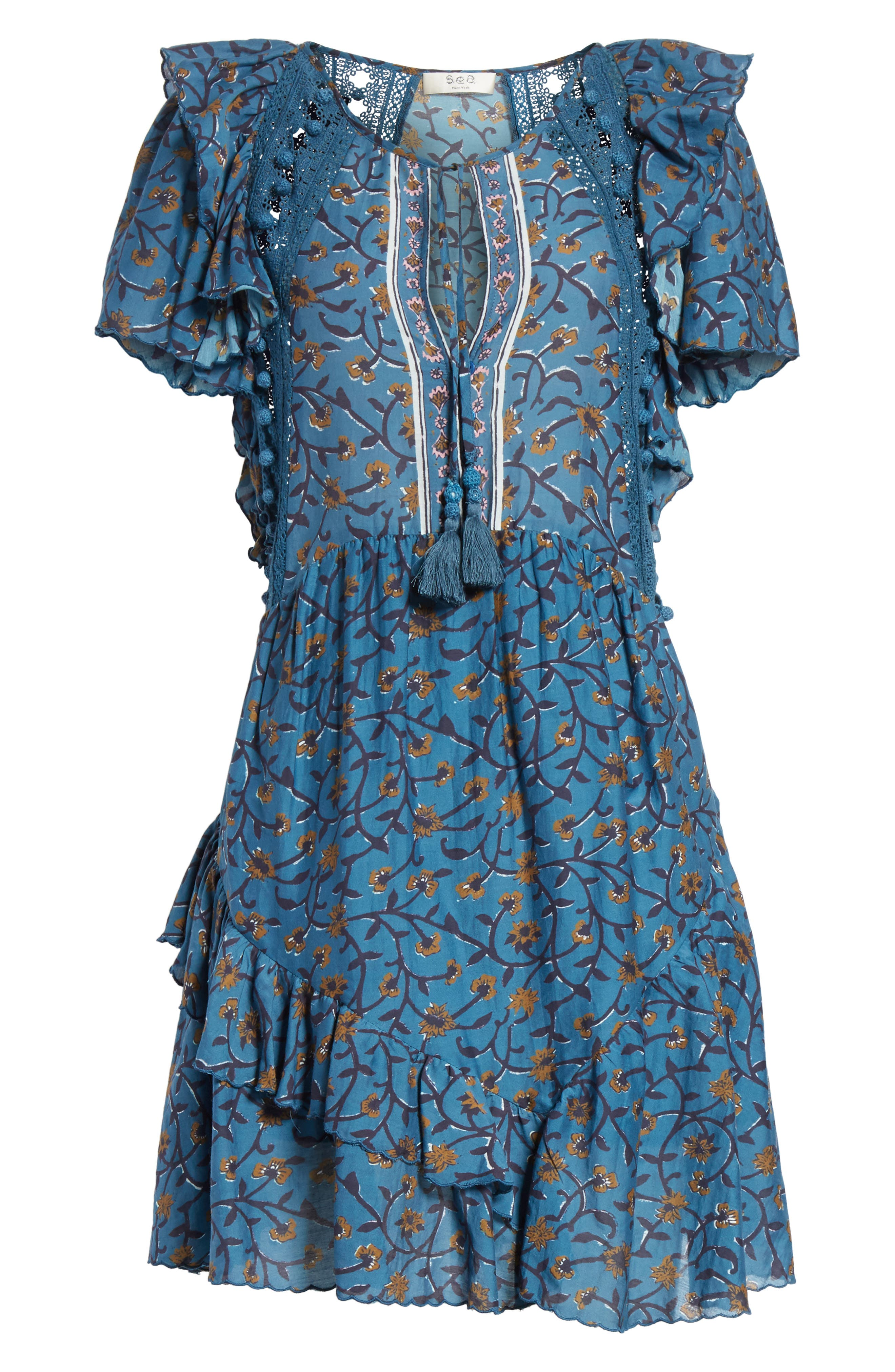 Kaylee Crochet Pompom Dress,                             Alternate thumbnail 6, color,                             Steel Blue