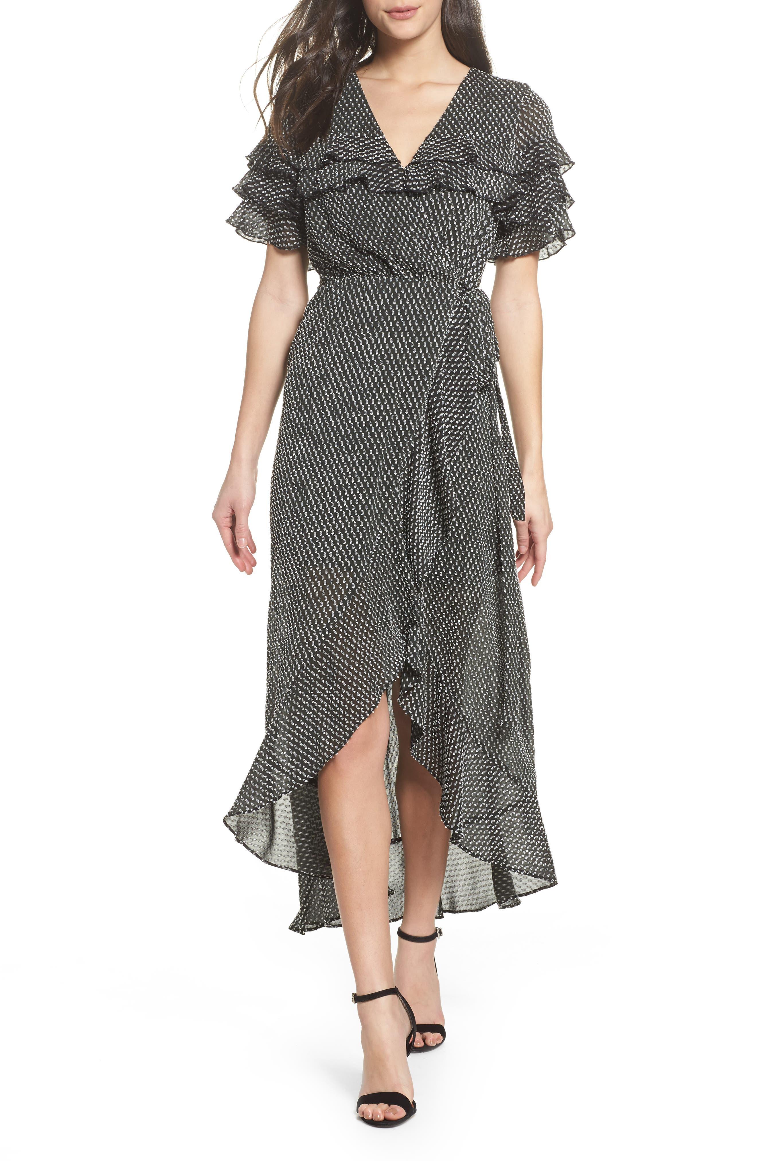 YOLO Ruffle Wrap Dress,                         Main,                         color, Black/ White Dot