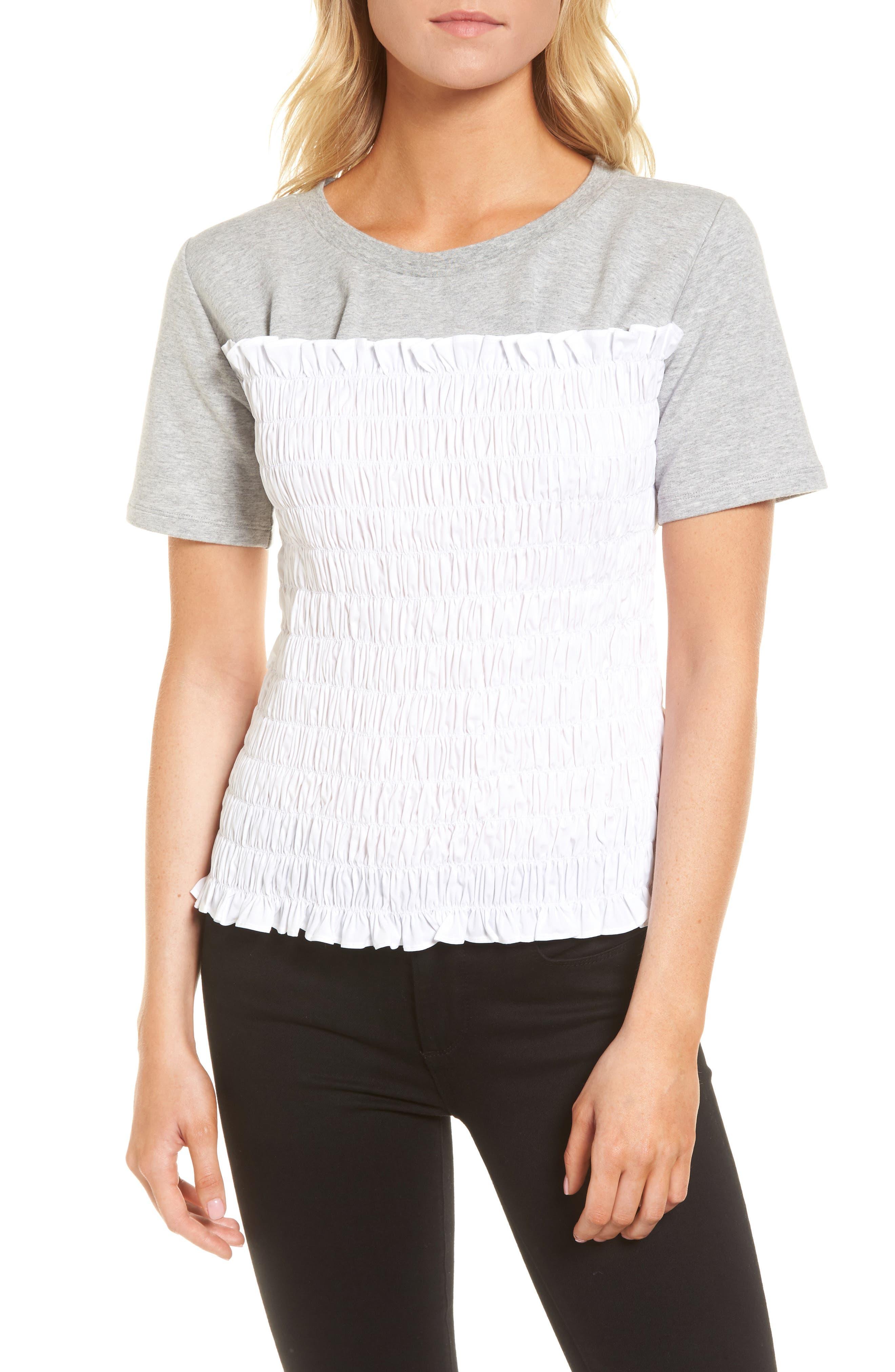 Smocked Sweatshirt,                         Main,                         color, Grey Heather