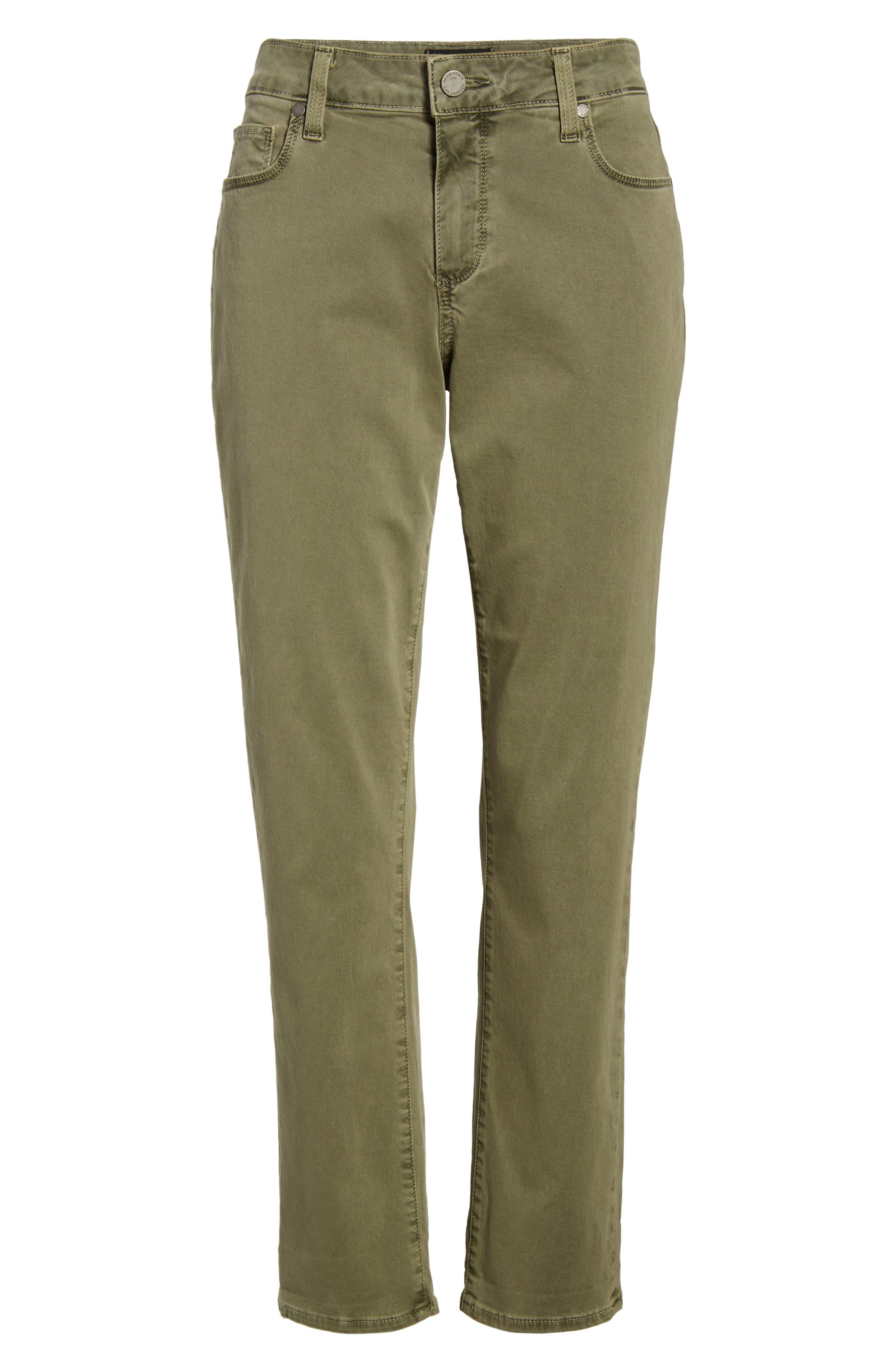 Brigitte Crop Boyfriend Jeans,                             Alternate thumbnail 7, color,                             Vintage Green