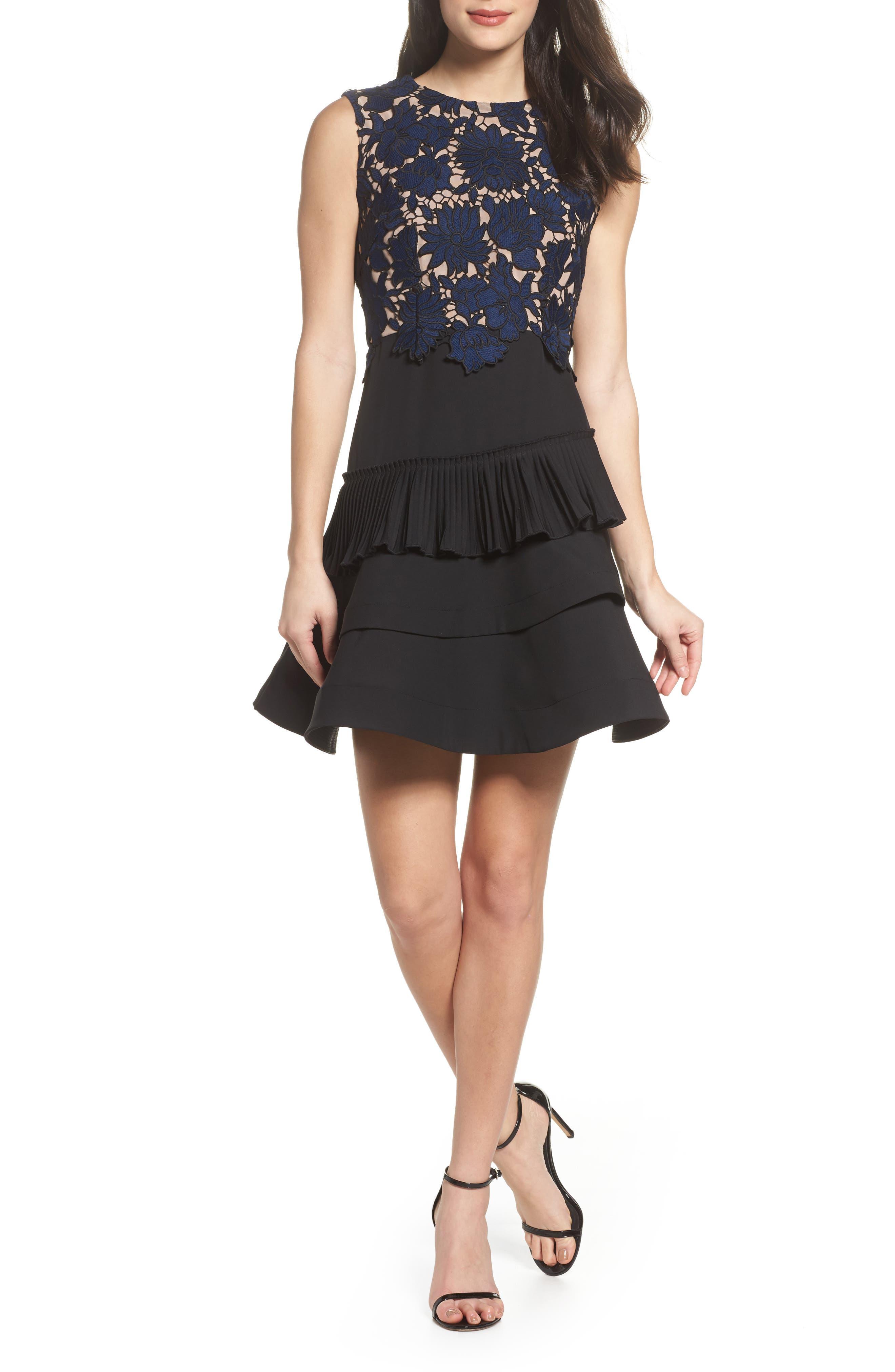Alexa Lace & Ruffle Tier Dress,                             Main thumbnail 1, color,                             Black/ Navy