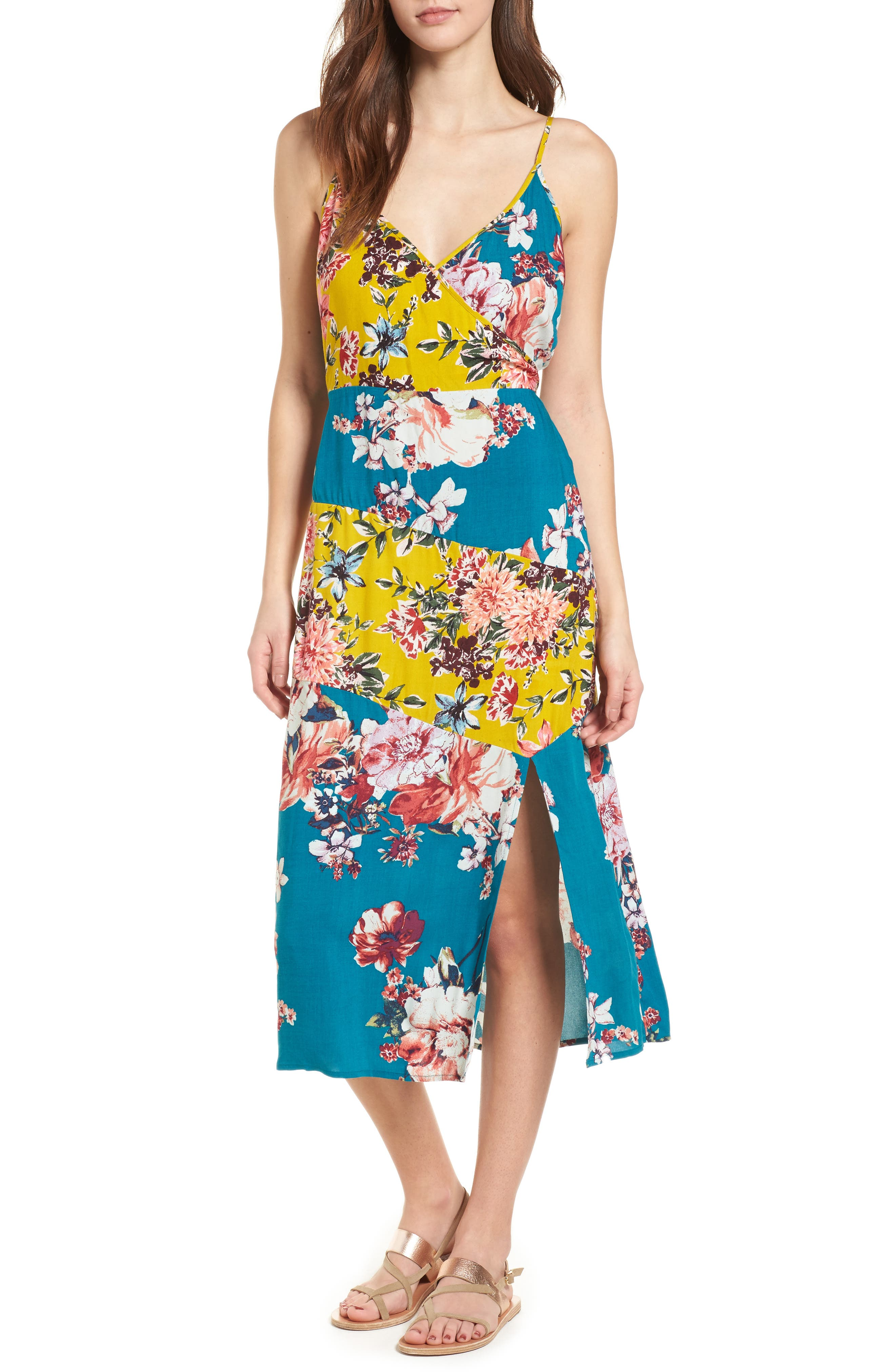 Mix Floral Midi Dress,                         Main,                         color, Teal/ Peach