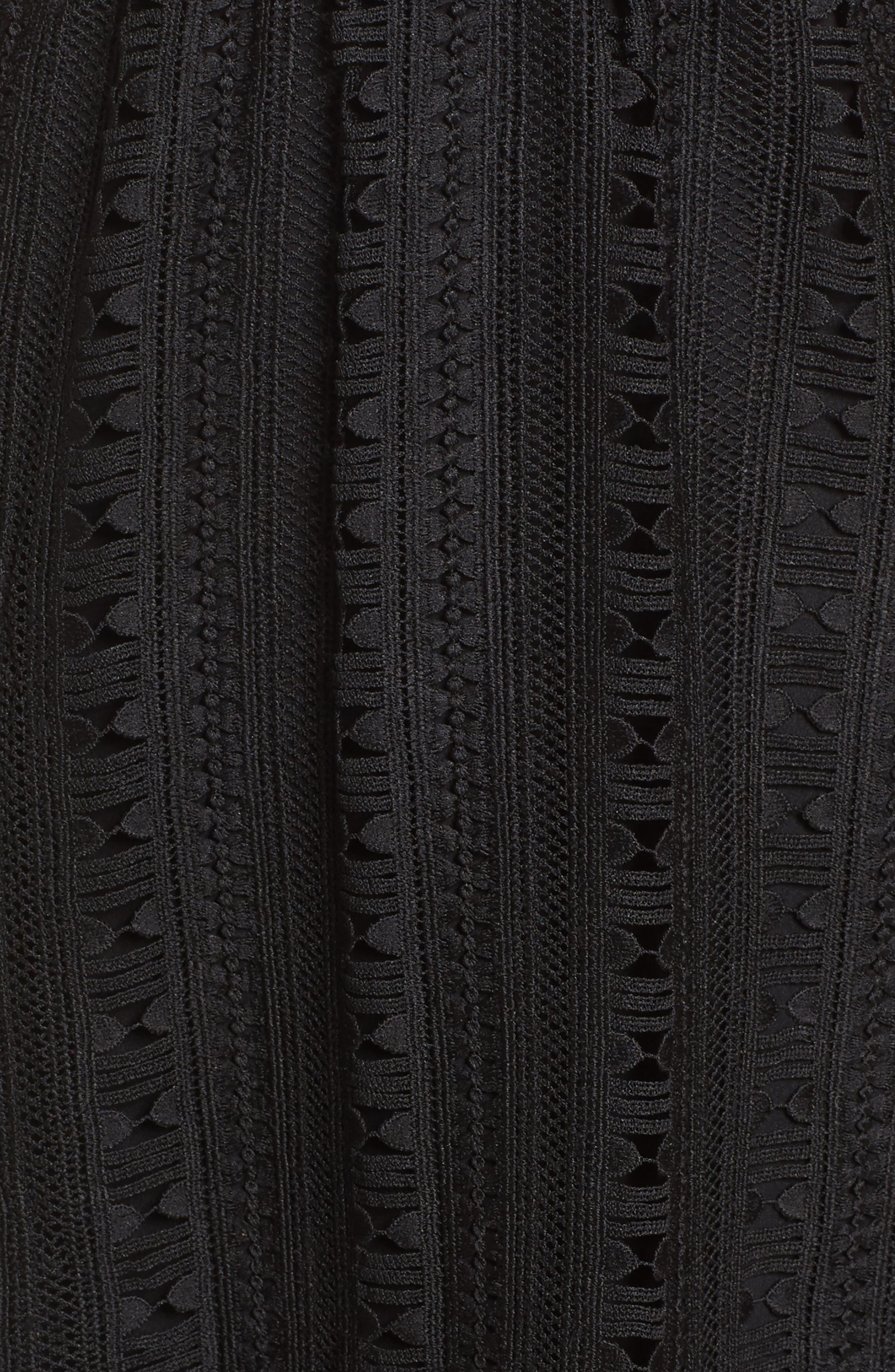 Belissimo Lace Fit & Flare Midi Dress,                             Alternate thumbnail 6, color,                             Black