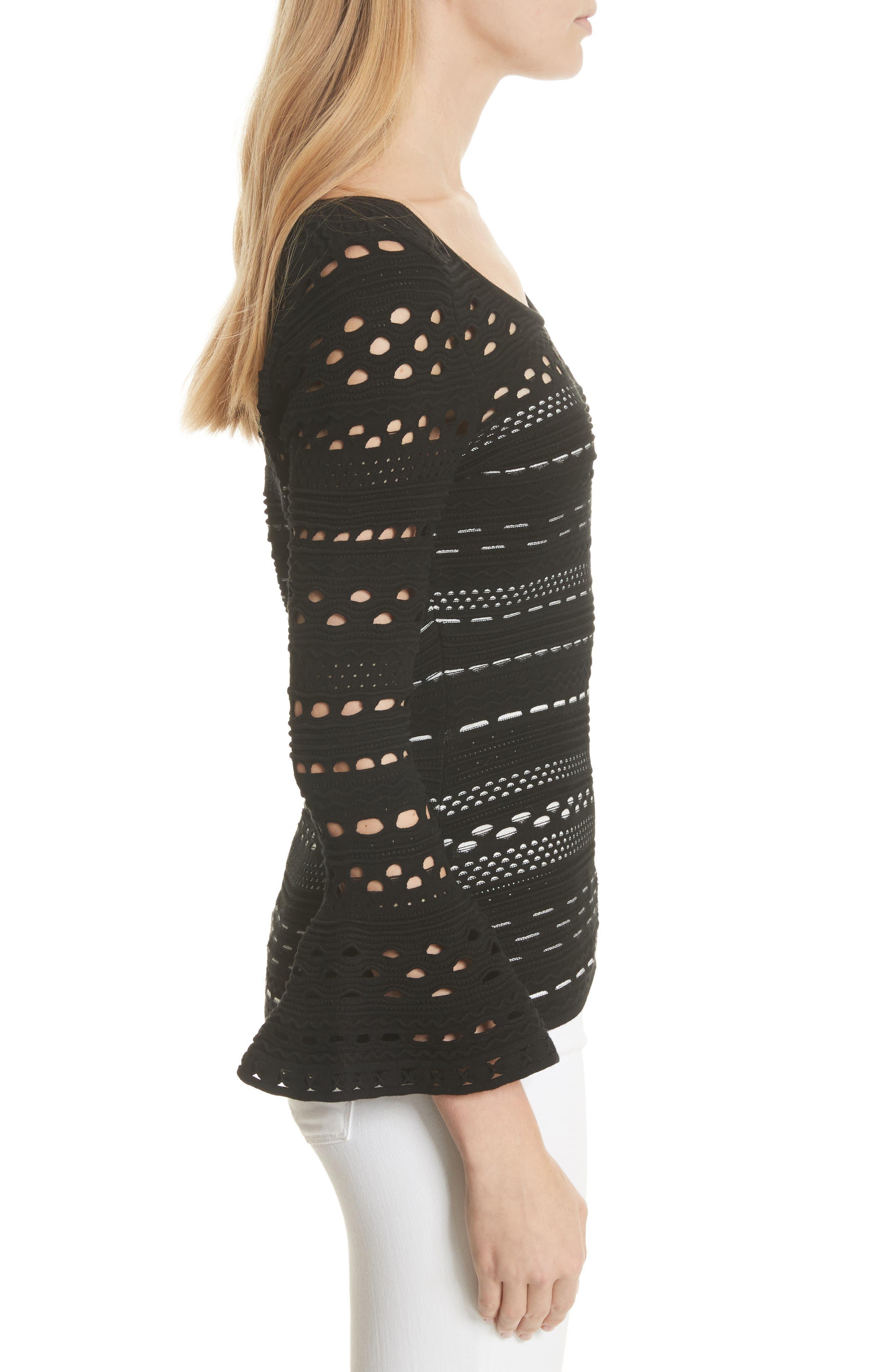 Lace Knit Top,                             Alternate thumbnail 3, color,                             Black/ White