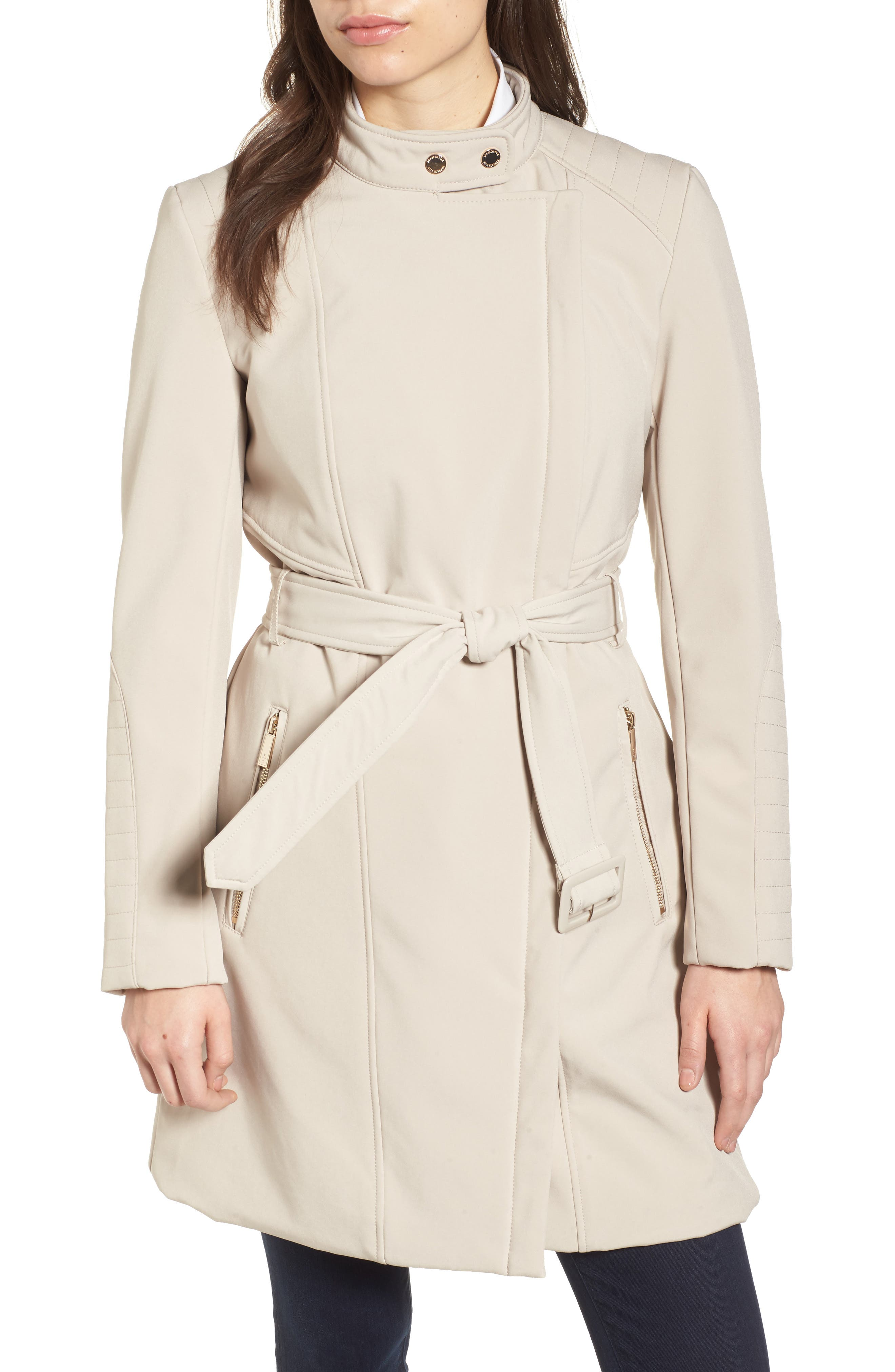 Asymmetrical Belted Trench Coat,                             Alternate thumbnail 4, color,                             Bone