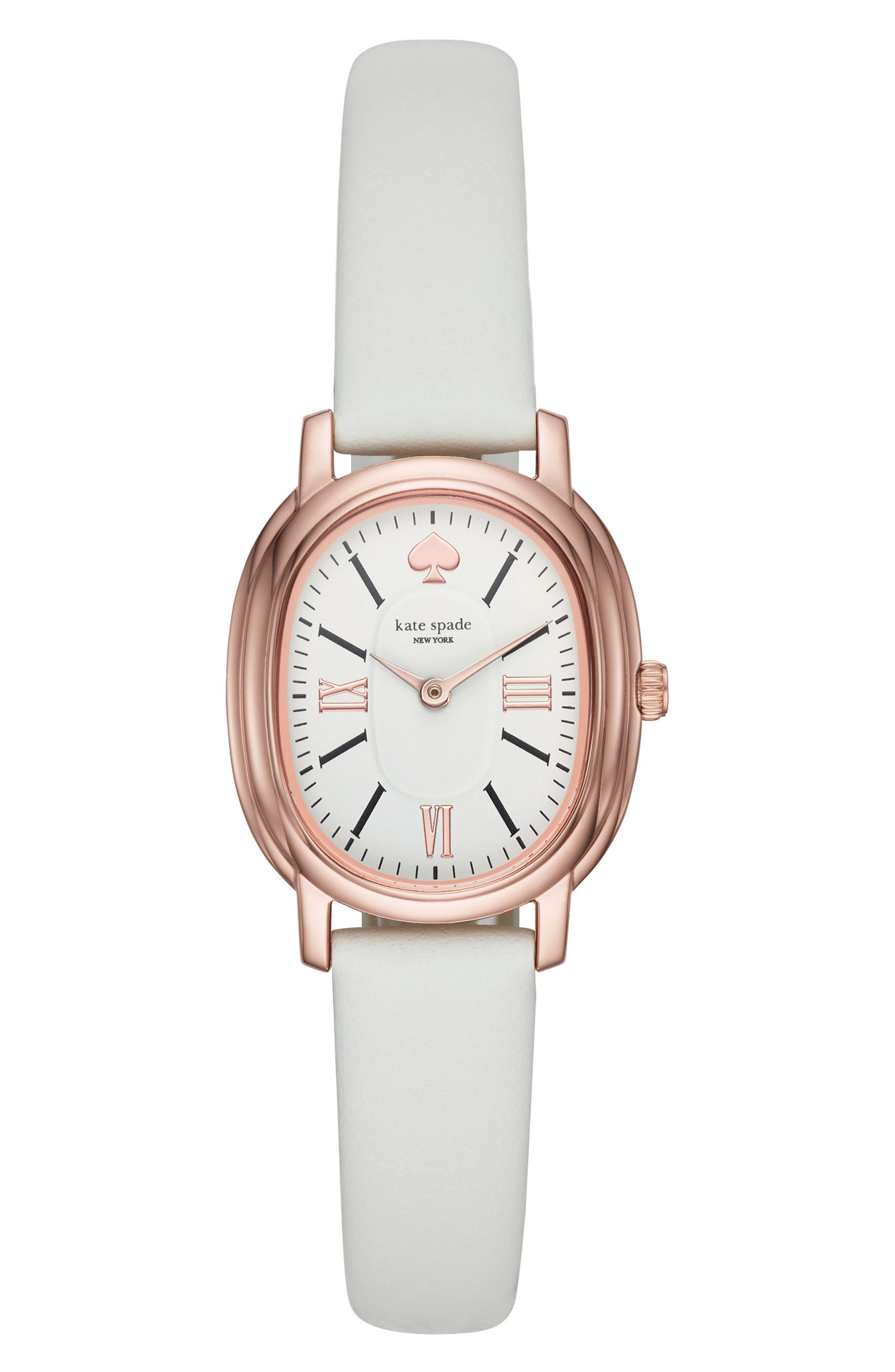 staten leather strap watch, 25mm x 33mm,                             Main thumbnail 1, color,                             White/ Pink
