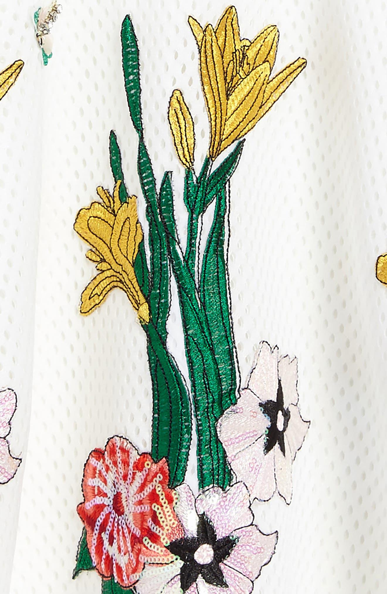 Appliqué Fit & Flare Dress,                             Alternate thumbnail 3, color,                             White