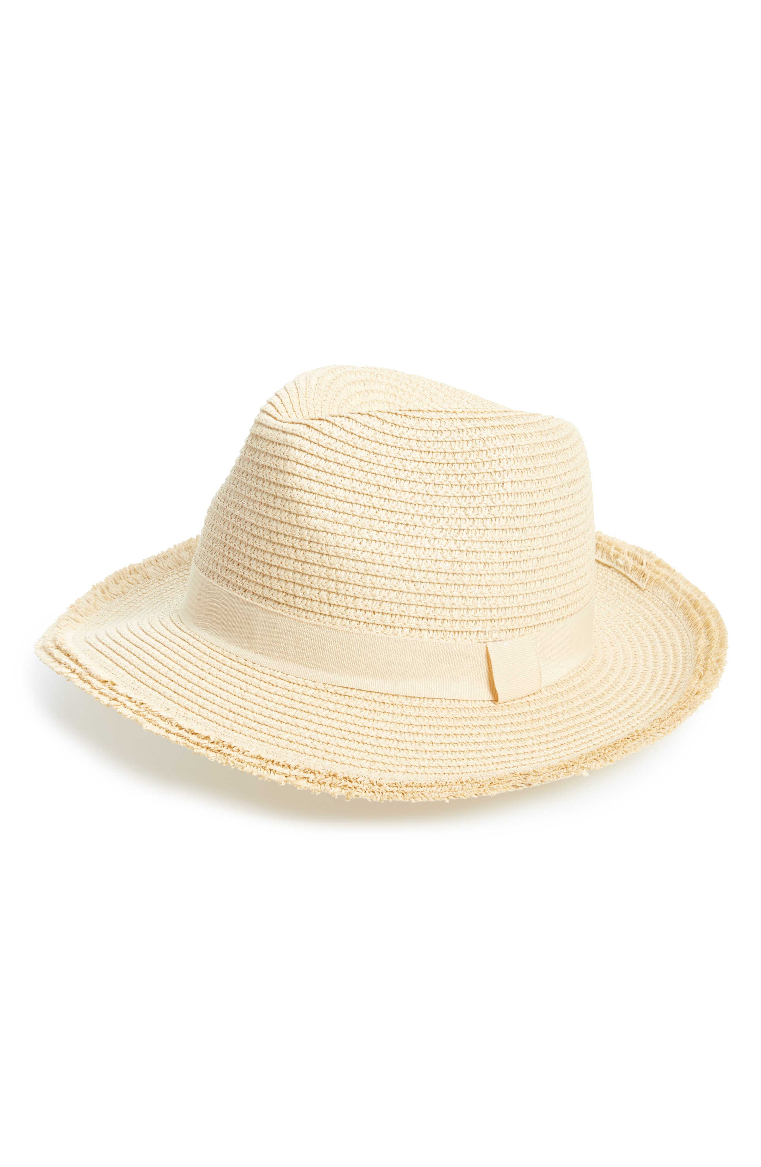 Frayed Edge Fedora,                         Main,                         color, Natural