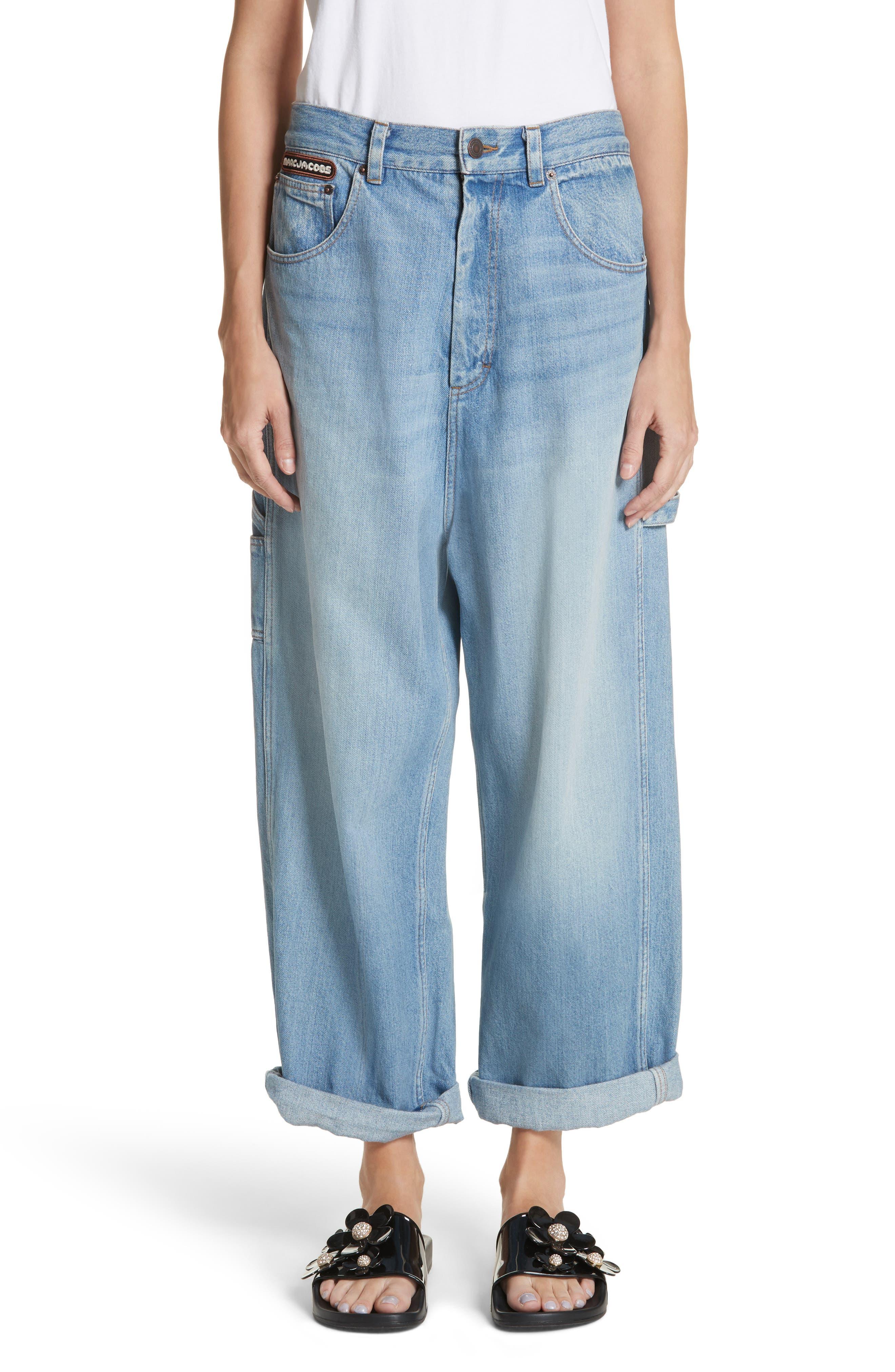 Wide Leg Carpenter Jeans,                             Main thumbnail 1, color,                             Vintage Indigo