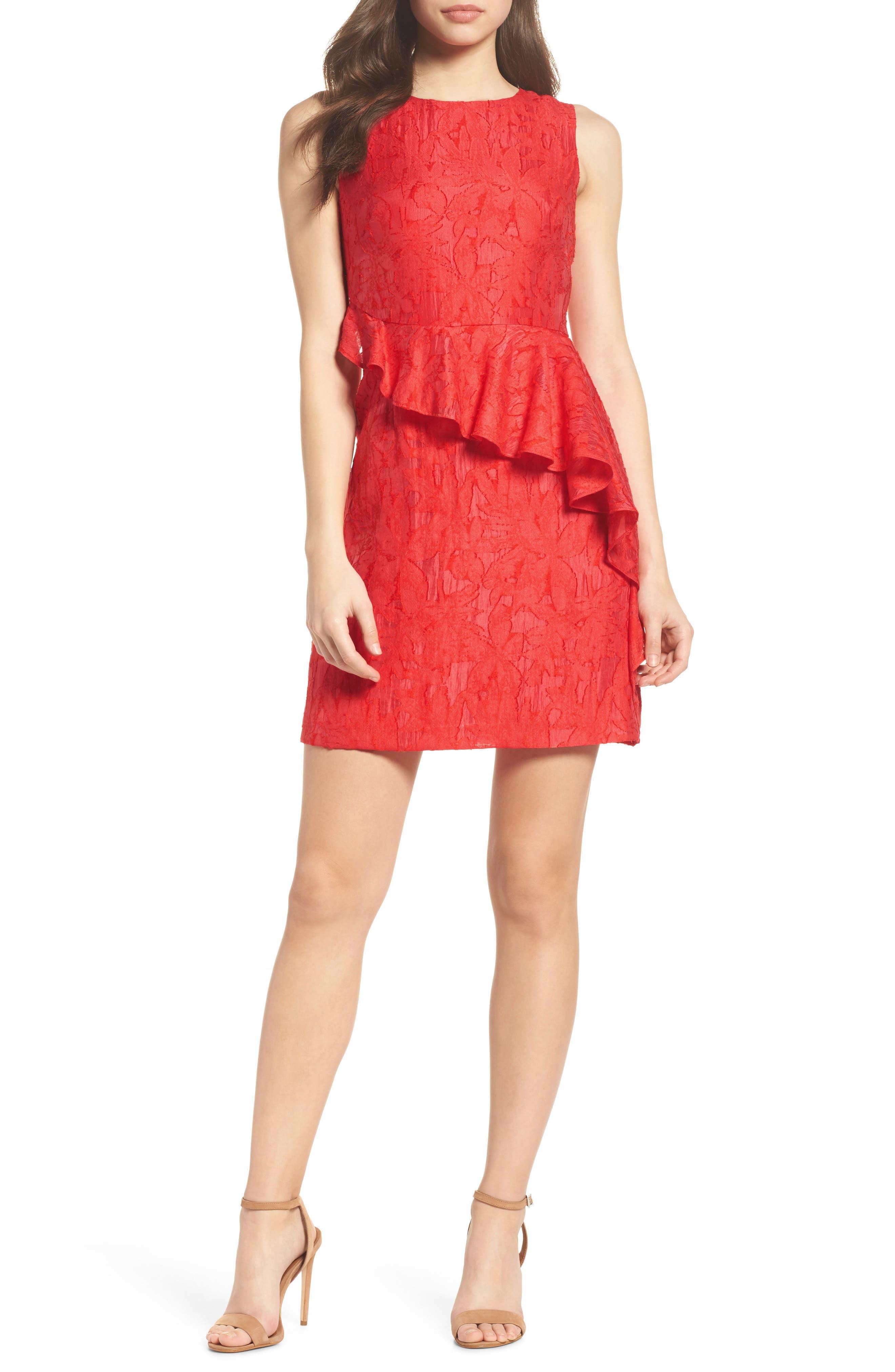 Organza Ruffle Sheath Dress,                             Main thumbnail 1, color,                             Red