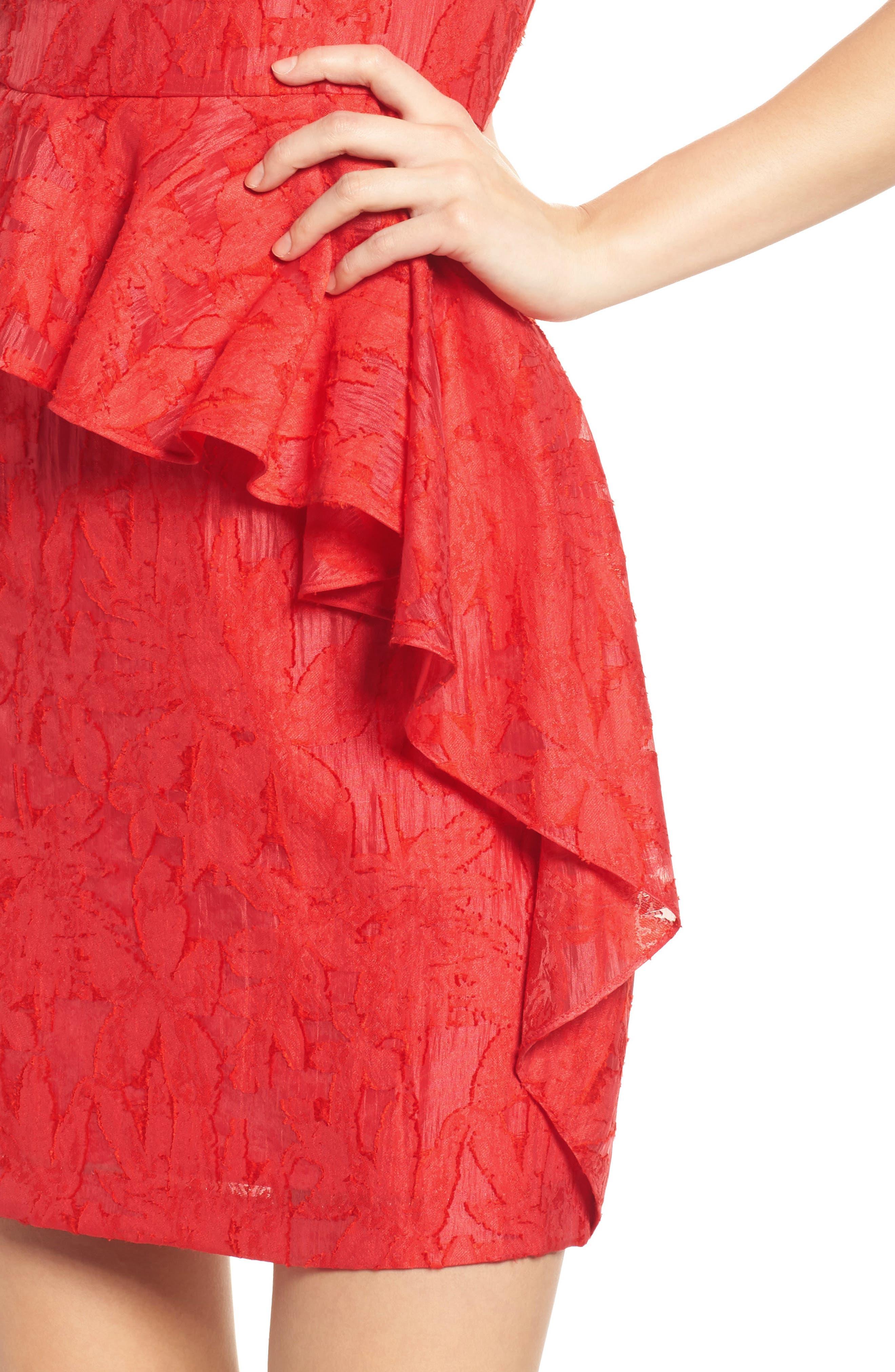 Organza Ruffle Sheath Dress,                             Alternate thumbnail 4, color,                             Red