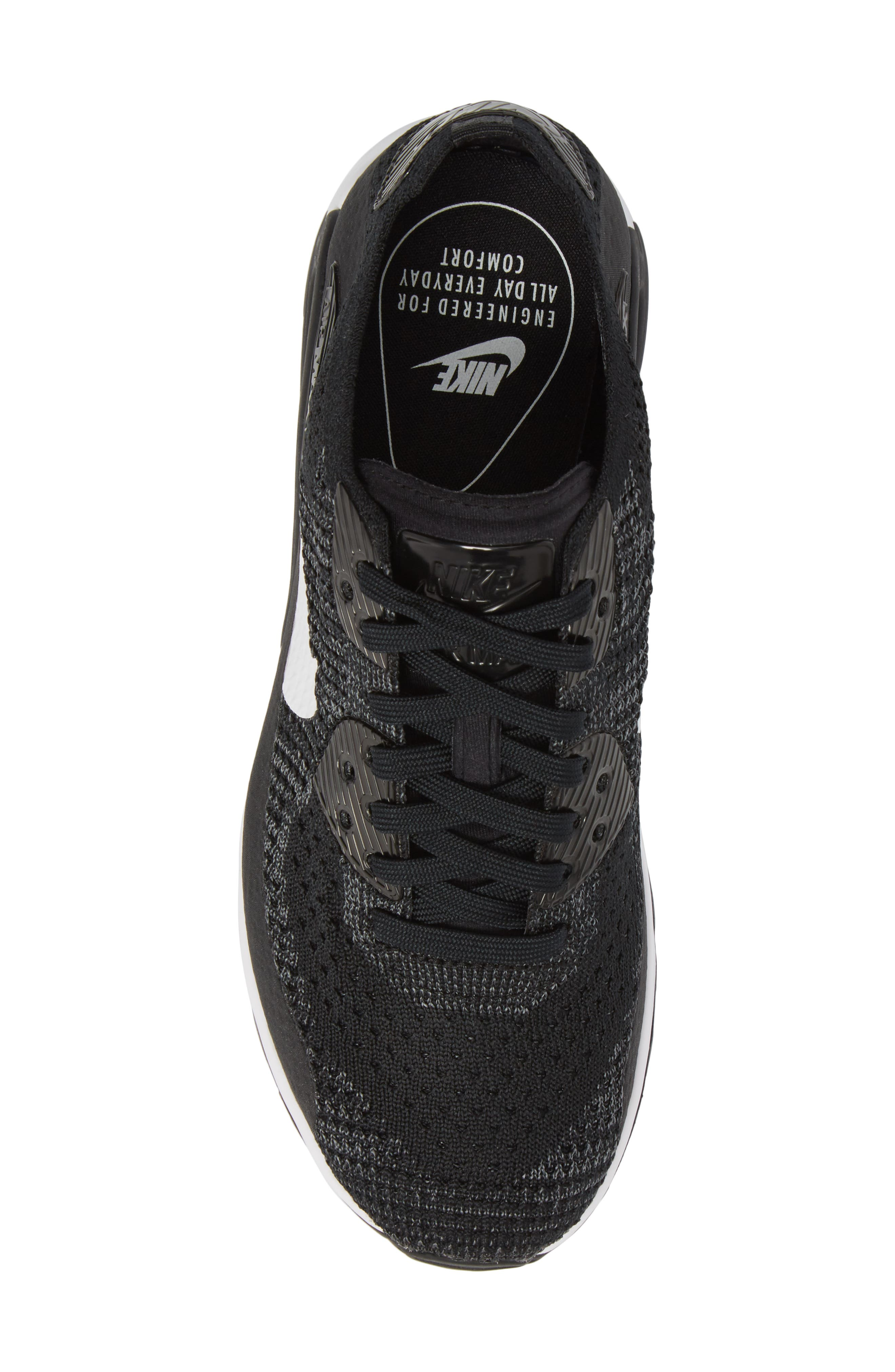 Air Max 90 Flyknit Ultra 2.0 Sneaker,                             Alternate thumbnail 5, color,                             Black/ White/ Dark Grey
