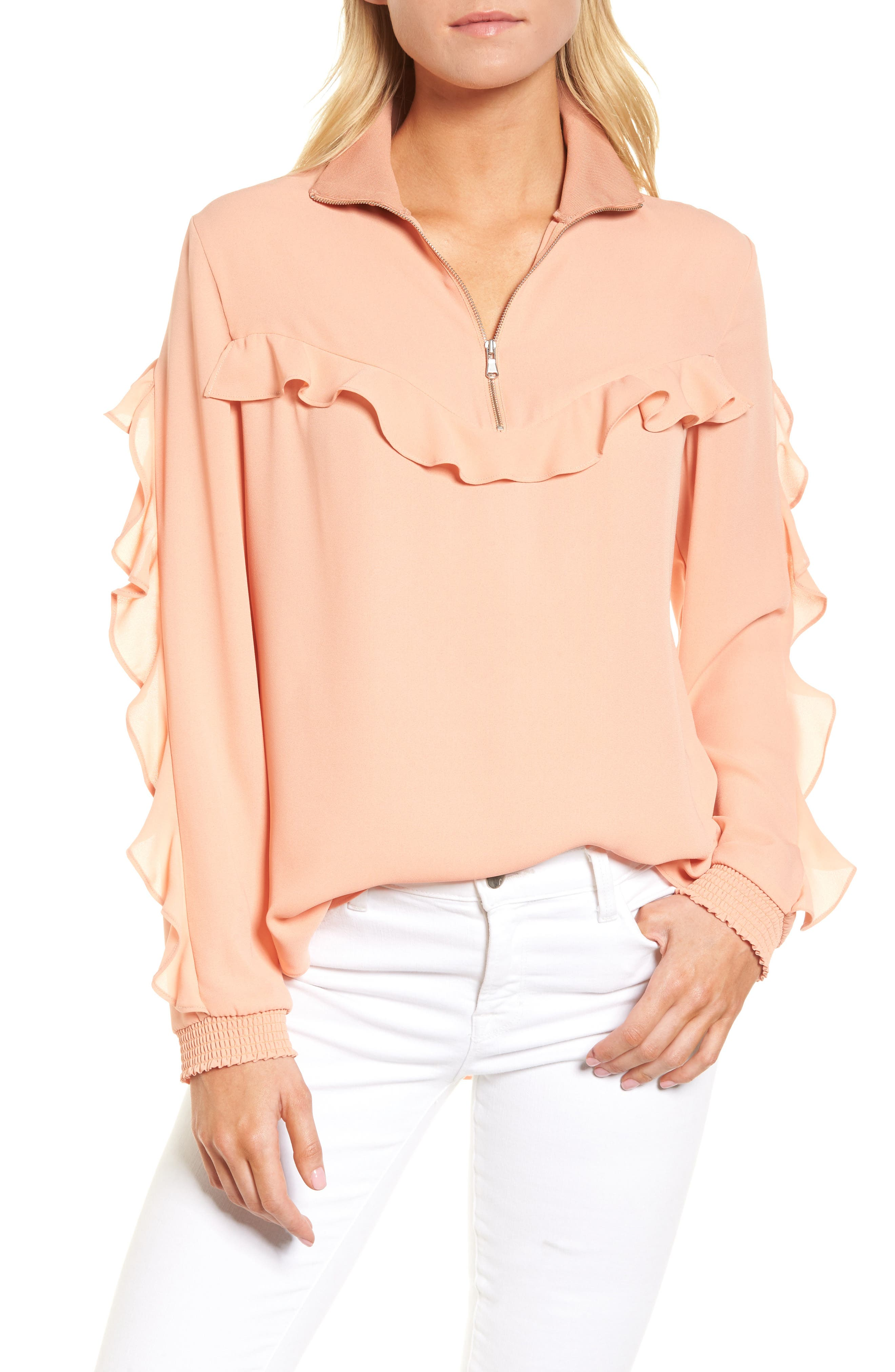 Ruffle Track Top,                             Main thumbnail 1, color,                             Coral Muted
