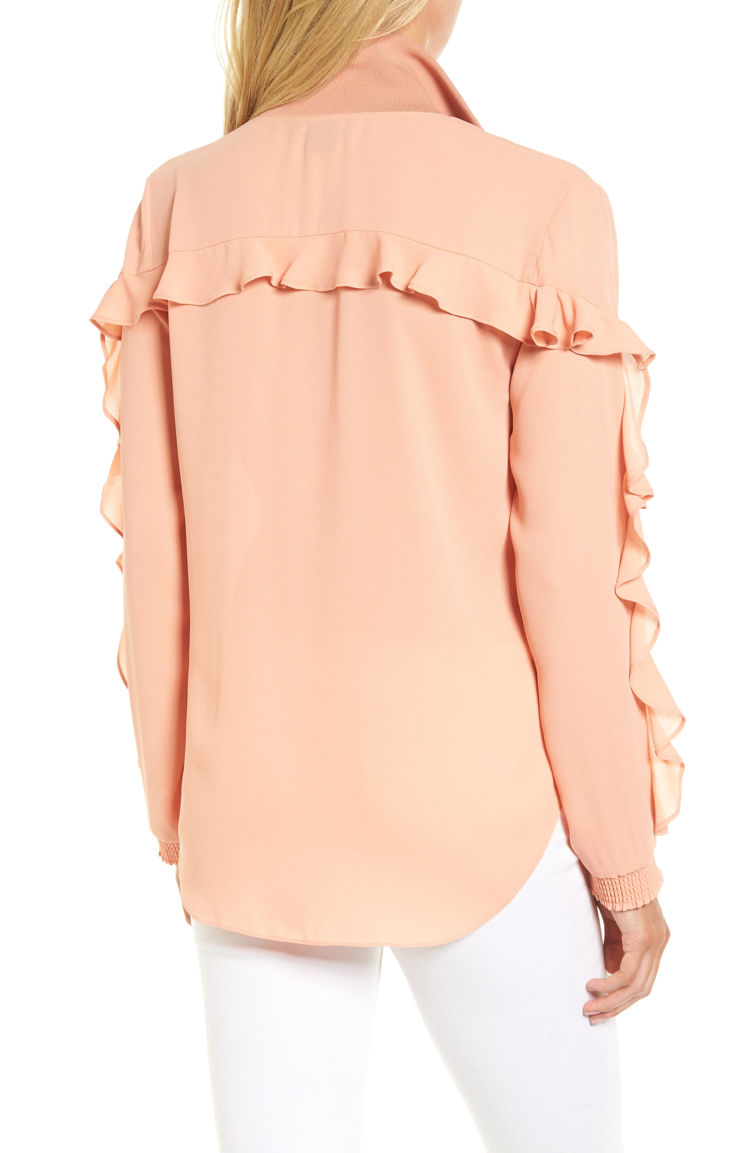 Ruffle Track Top,                             Alternate thumbnail 2, color,                             Coral Muted