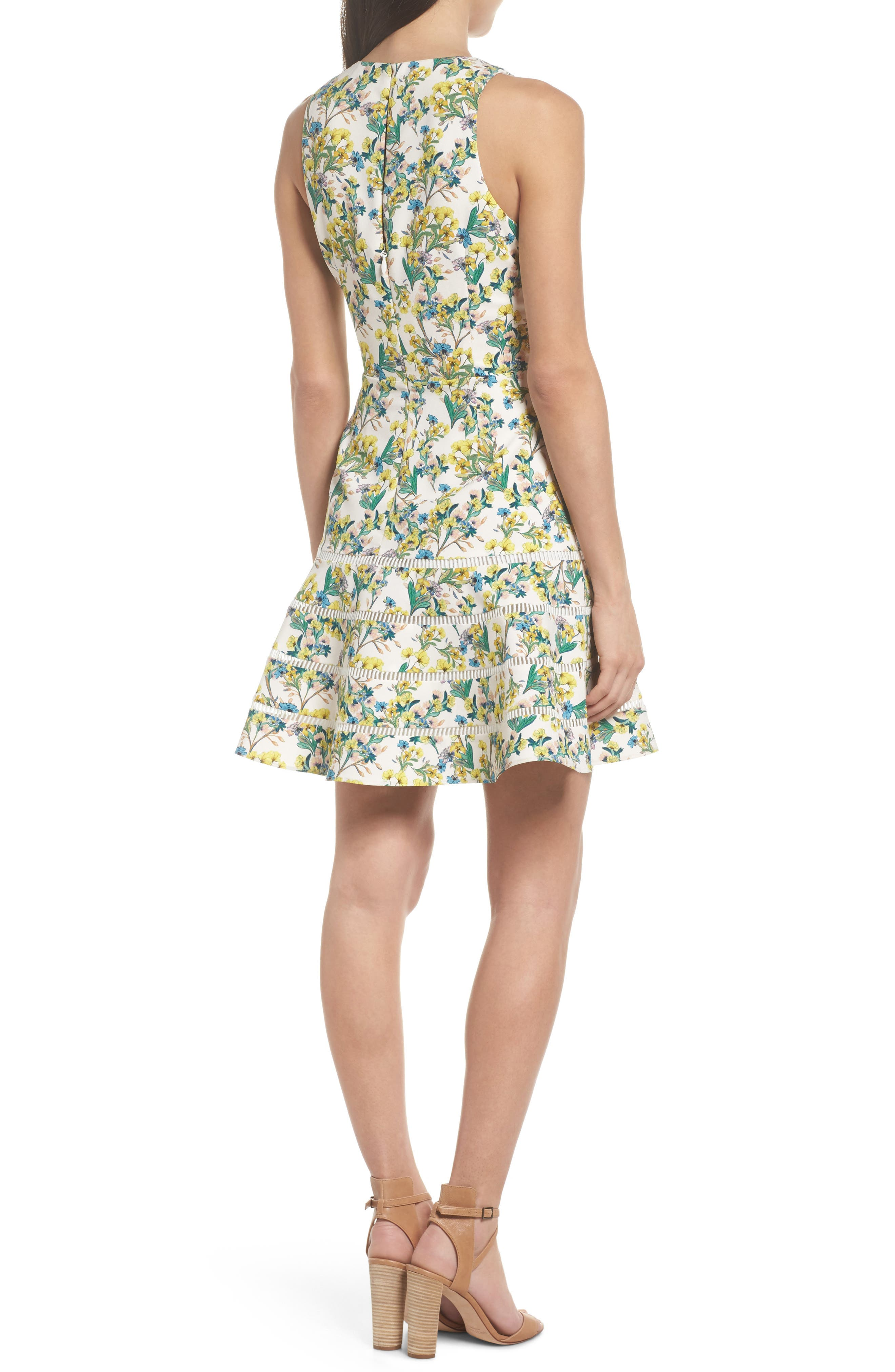 Lace Detail Fit & Flare Dress,                             Alternate thumbnail 2, color,                             Ivory Lucy Floral