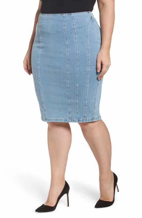 Ashley Graham x Marina Rinaldi Canada Slim Denim Pencil Skirt (Regular & Plus Size)