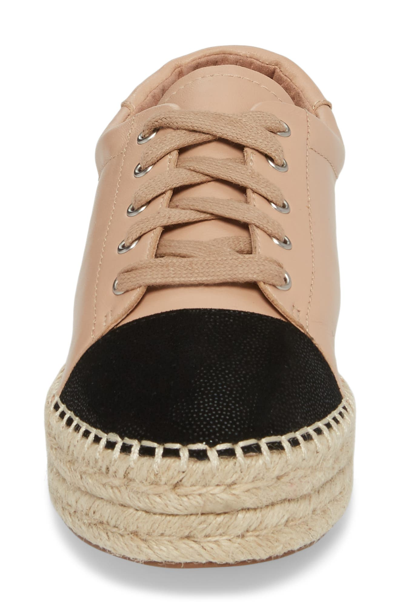 Sierra Espadrille Platform Sneaker,                             Alternate thumbnail 4, color,                             Blush/ Black Leather