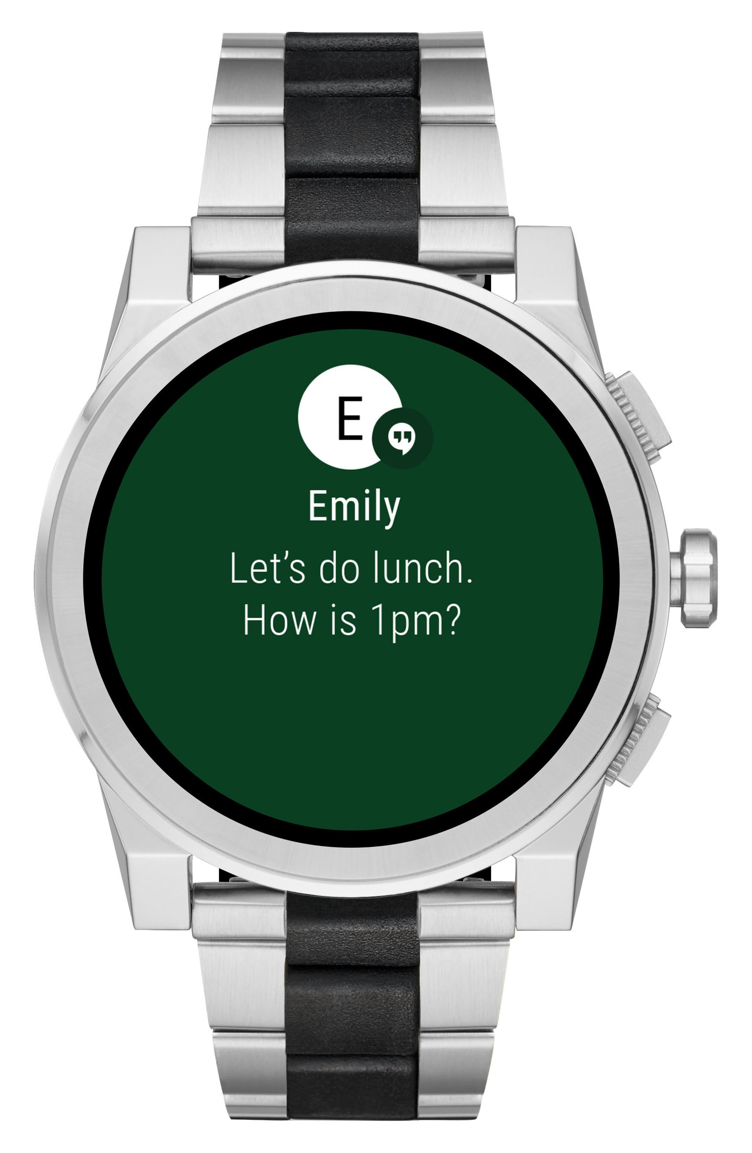 Grayson Bracelet Touchscreen Smart Watch, 47mm,                             Alternate thumbnail 2, color,                             Silver/ Black
