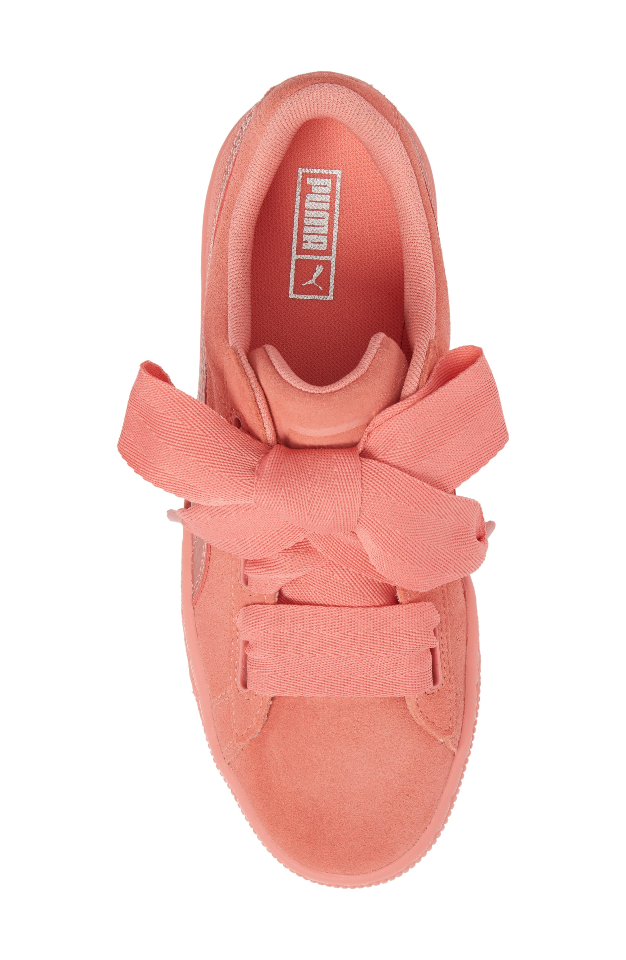 Suede Heart Sneaker,                             Alternate thumbnail 5, color,                             Shell Pink/ Shell Pink