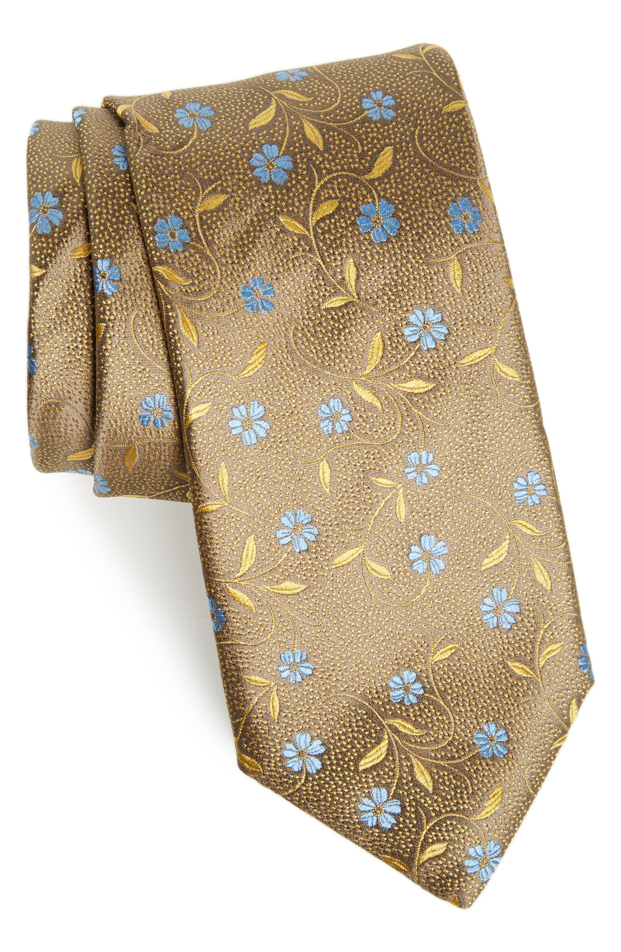 Floral Silk Tie,                             Main thumbnail 1, color,                             Gold