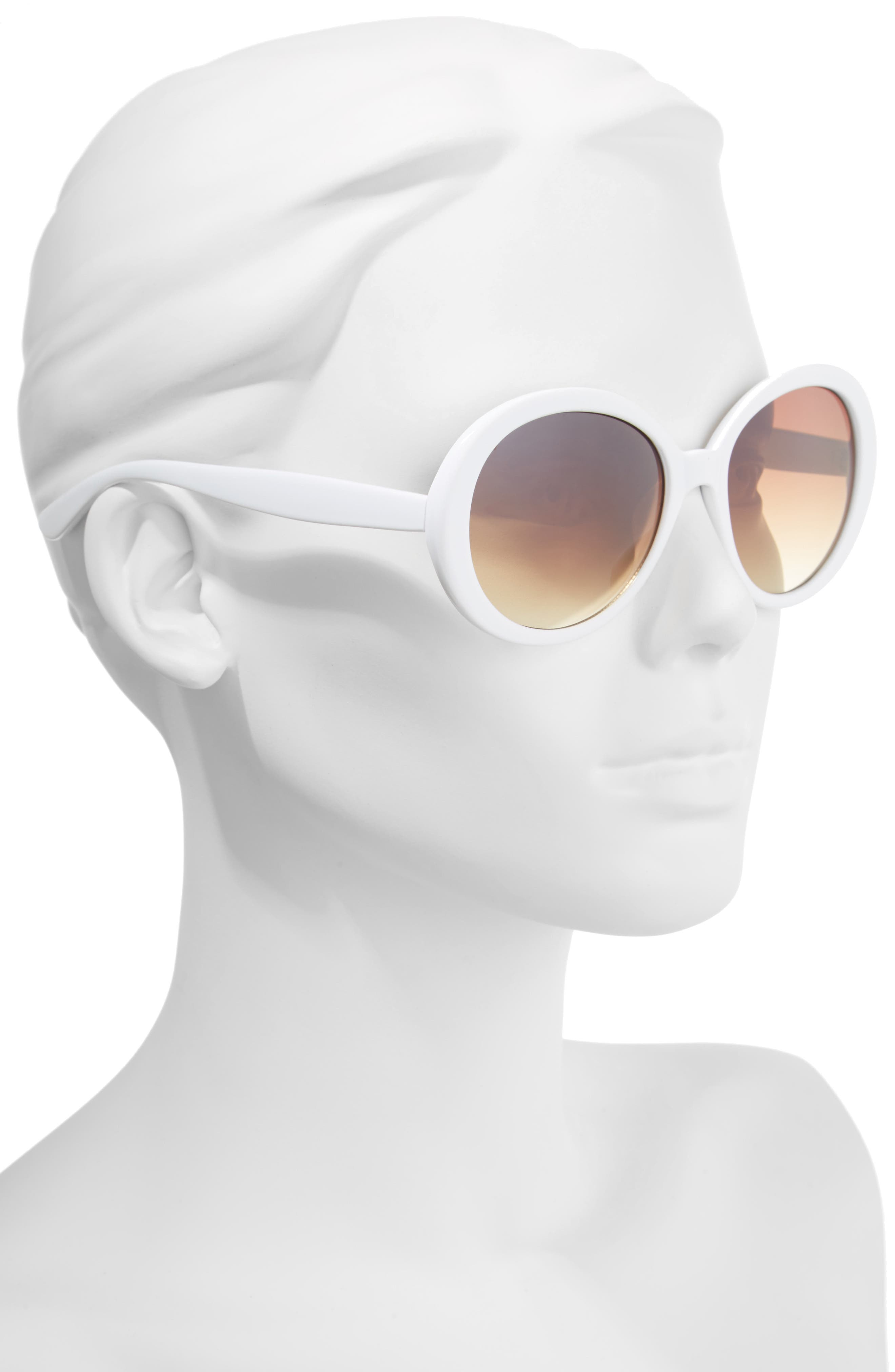 55mm Oval Sunglasses,                             Alternate thumbnail 2, color,                             Cream/ Brown