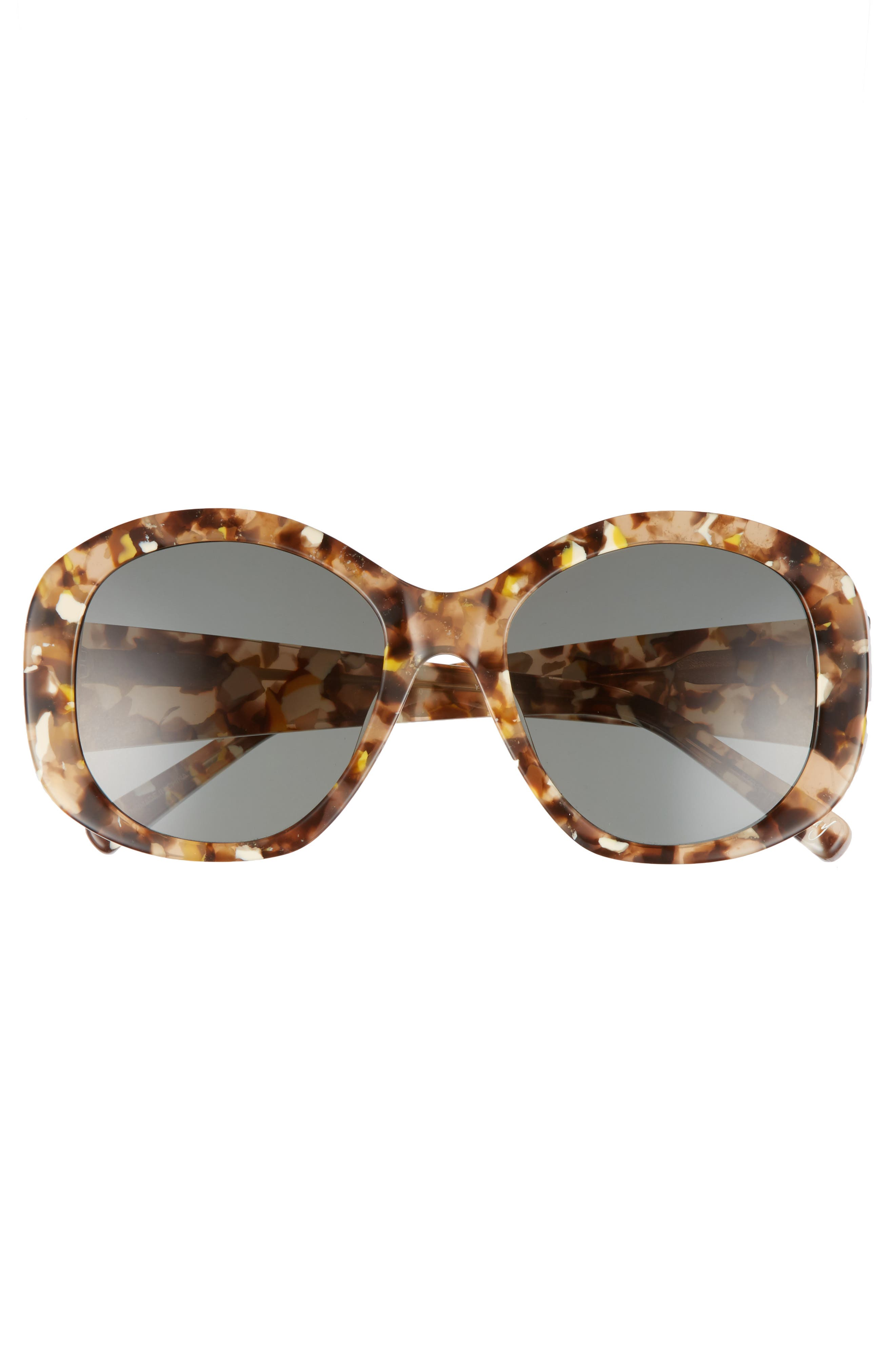 Kay 54mm Round Sunglasses,                             Alternate thumbnail 3, color,                             Amber/ Green