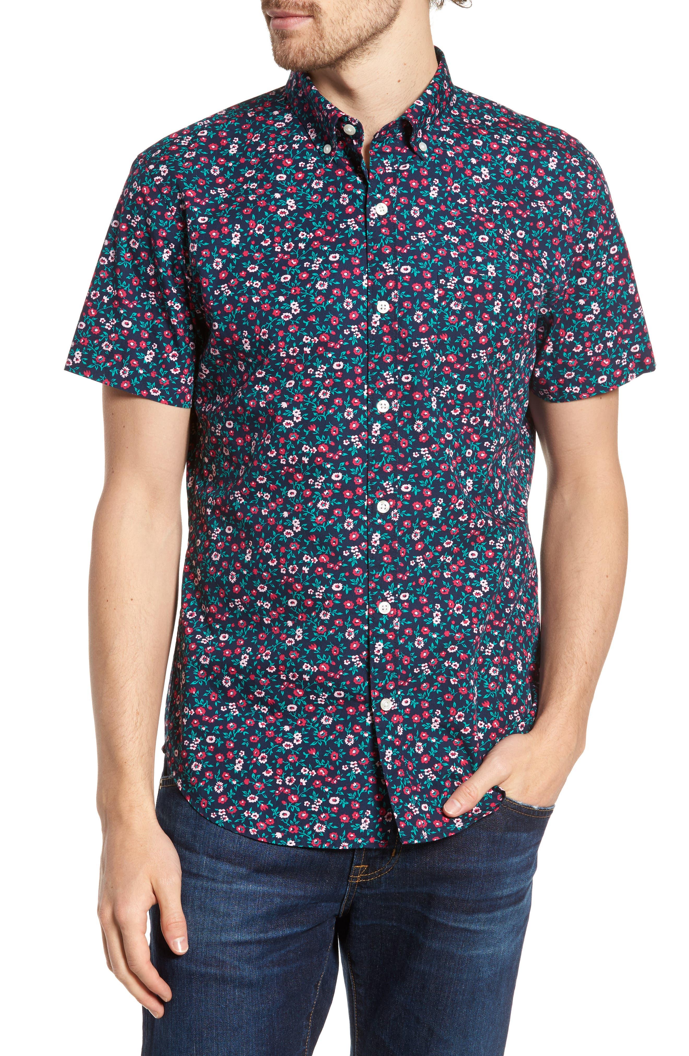 Slim Fit Print Short Sleeve Sport Shirt,                             Main thumbnail 1, color,                             Whitecap Floral - Red