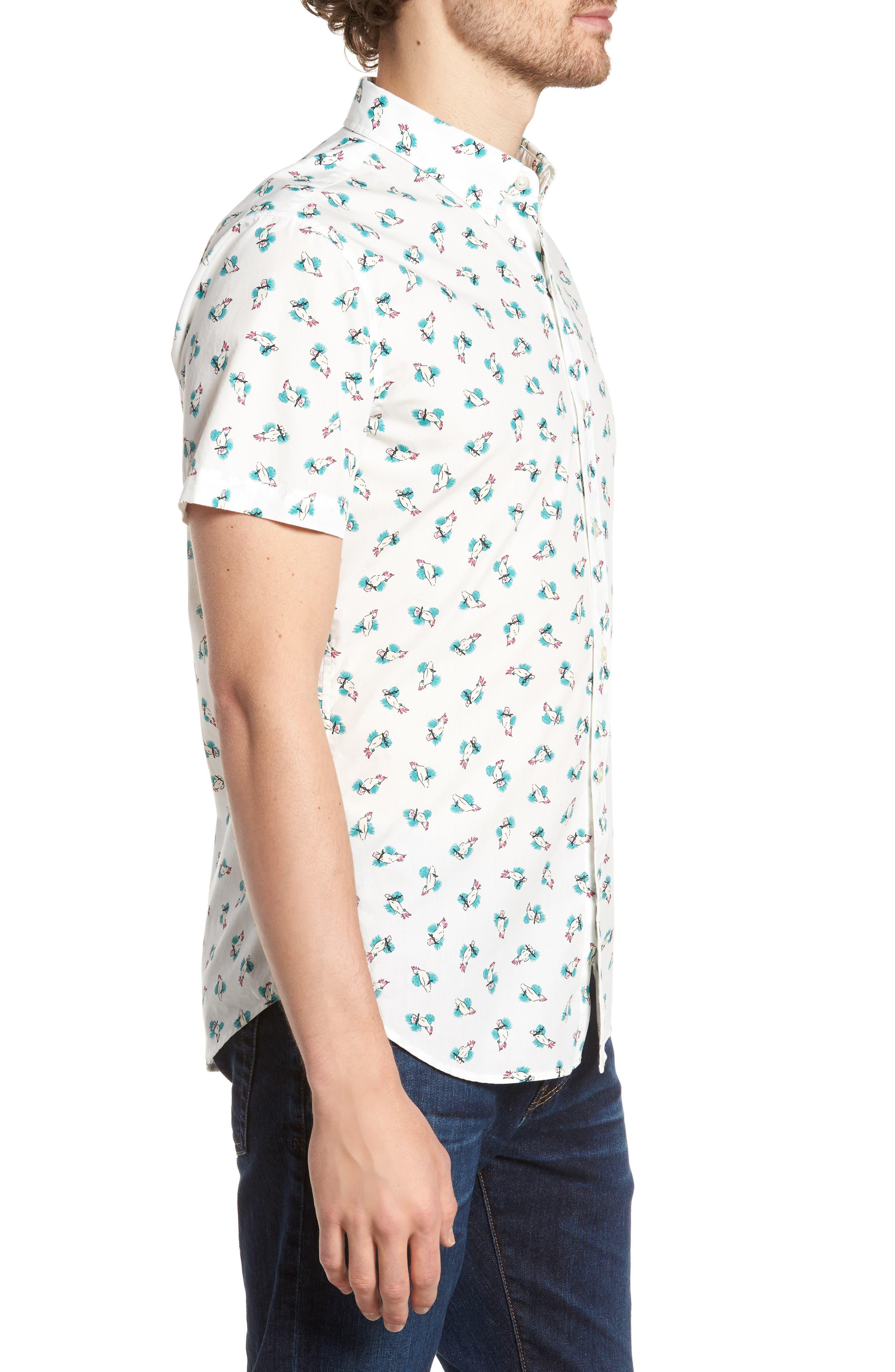Slim Fit Print Short Sleeve Sport Shirt,                             Alternate thumbnail 4, color,                             Cockatoo - Latigo Bay
