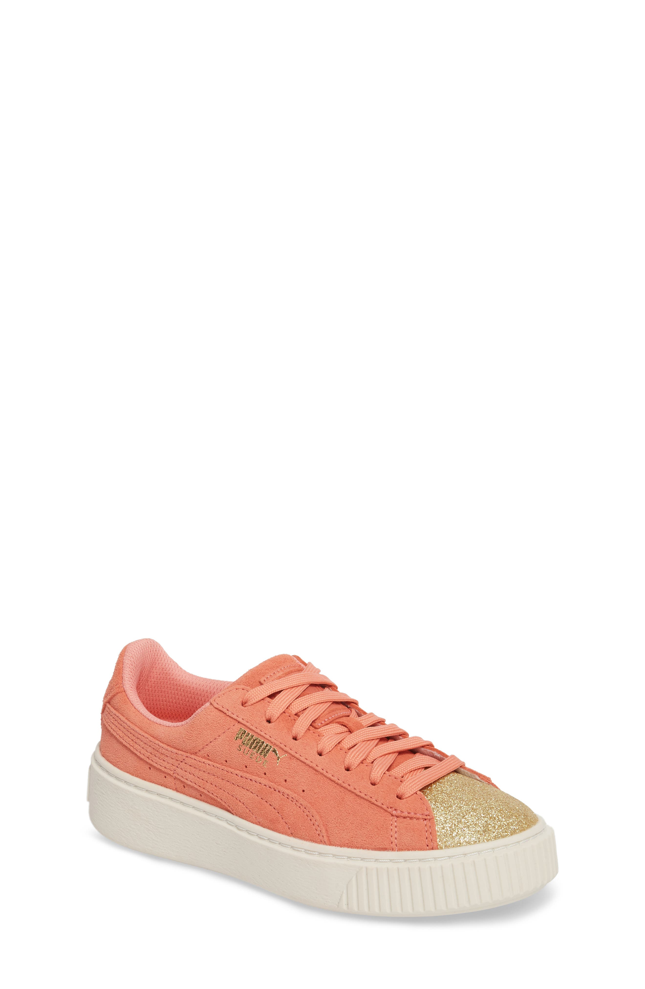 Suede Platform Glam PS Sneaker,                             Main thumbnail 1, color,                             Puma Team Gold/ Shell Pink
