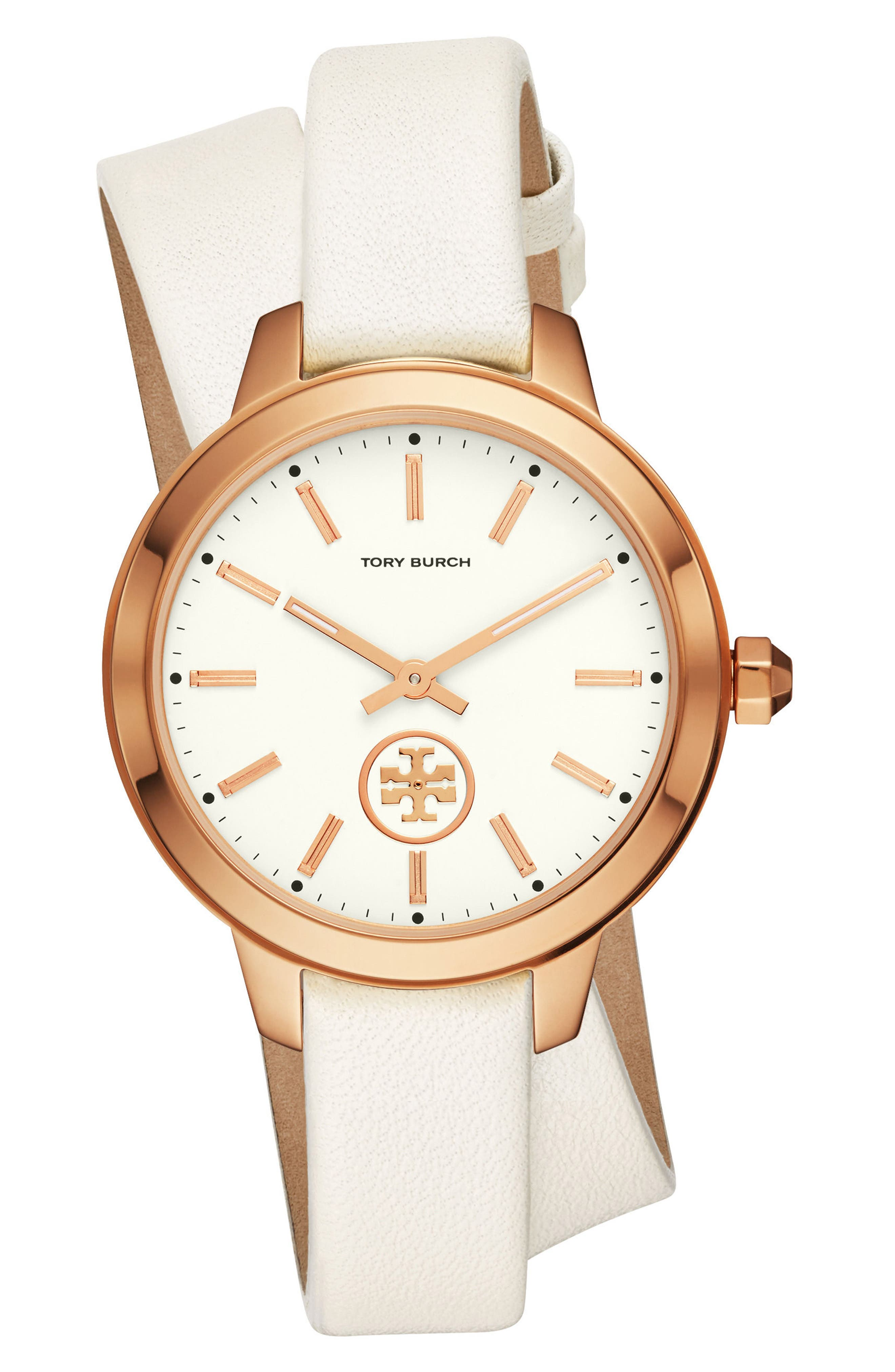 Collins Wrap Leather Strap Watch, 38mm,                             Main thumbnail 1, color,                             White/ Cream/ Rose Gold