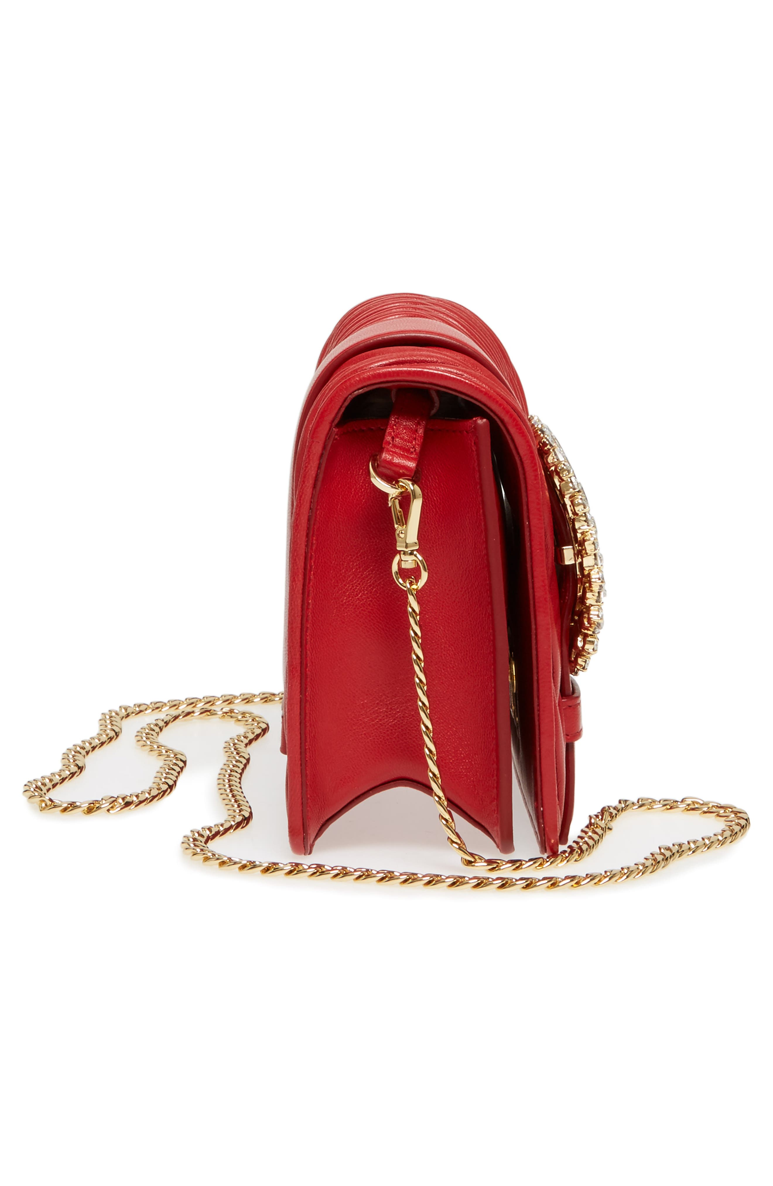 Matelassé Leather Shoulder Bag,                             Alternate thumbnail 5, color,                             Fuoco