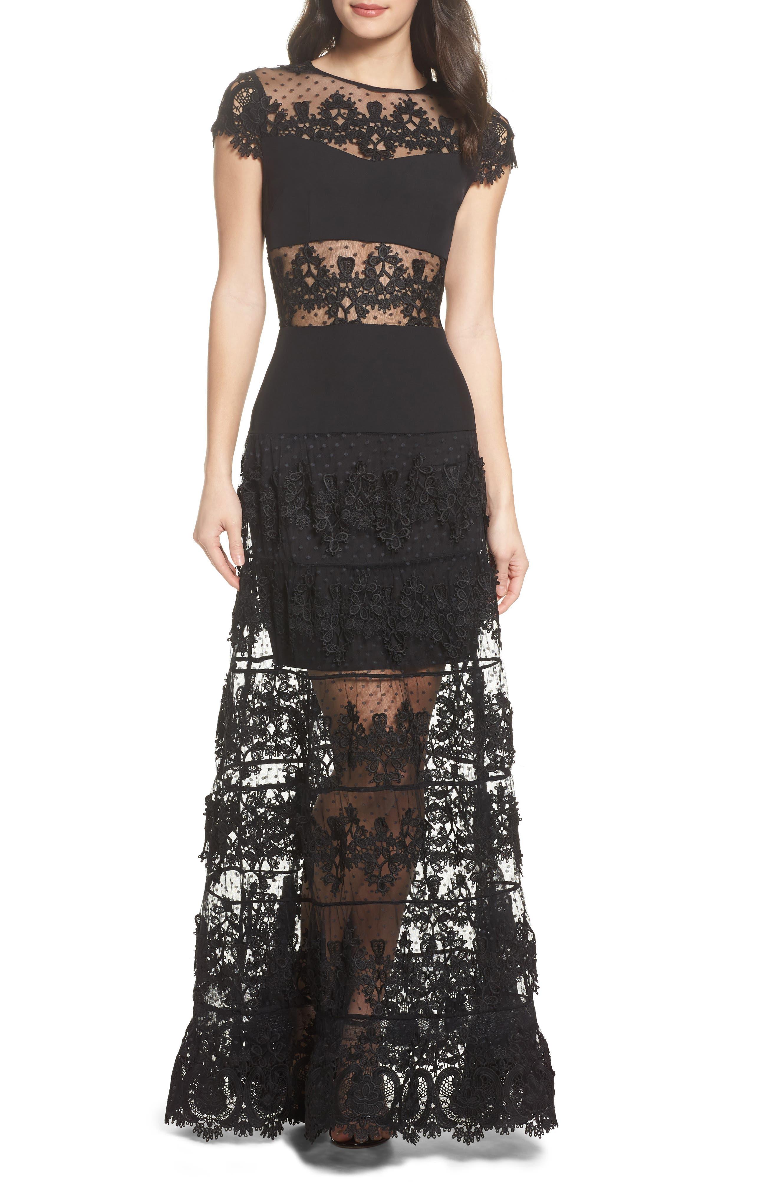 Flamenco Lace Inset Gown,                             Main thumbnail 1, color,                             Black/ Navy