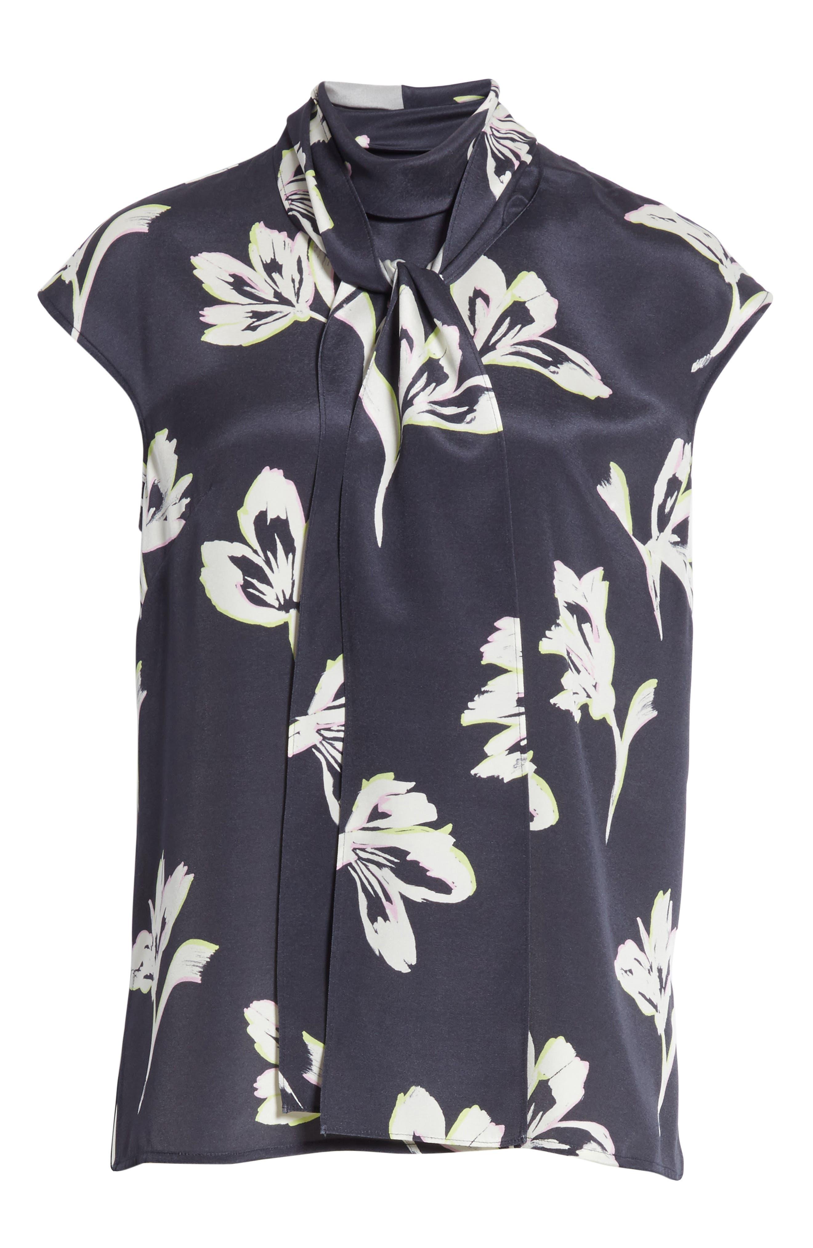Alternate Image 8  - St. John Collection Falling Flower Print Stretch Silk Top