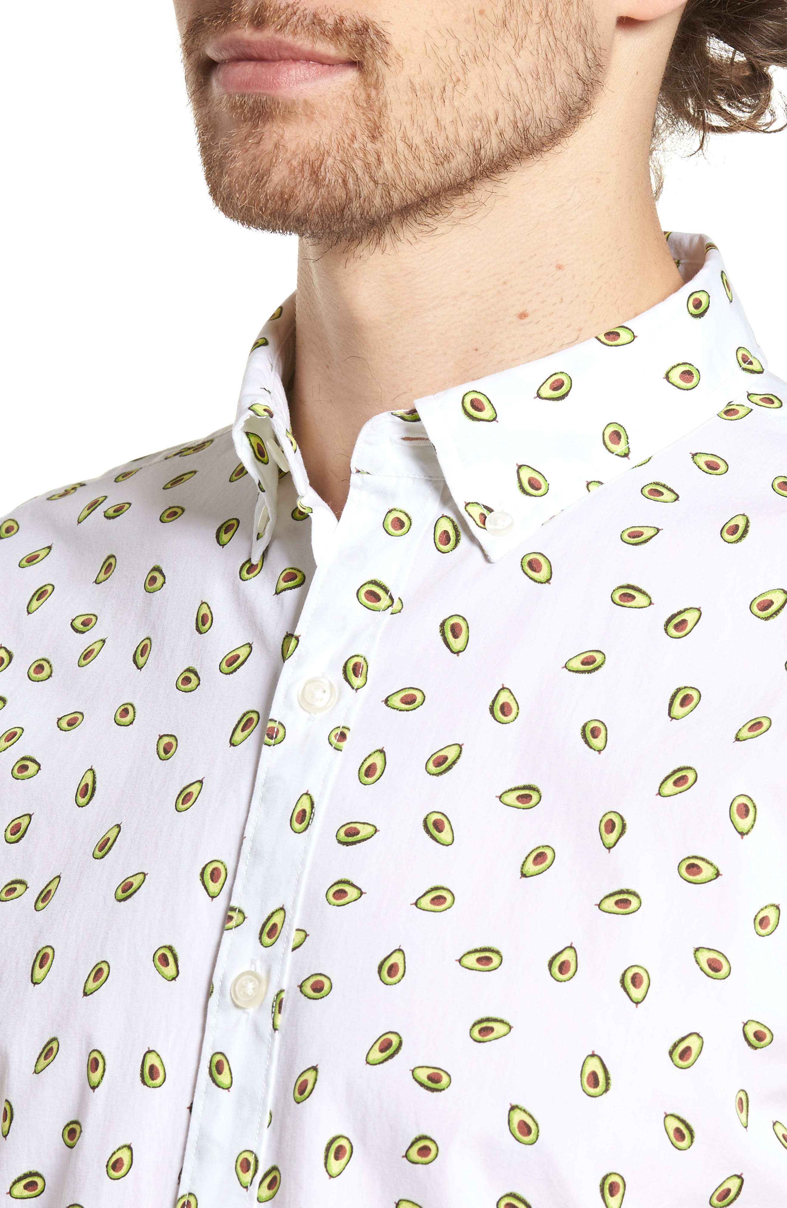 Slim Fit Print Short Sleeve Sport Shirt,                             Alternate thumbnail 2, color,                             Avocados - Key Lime