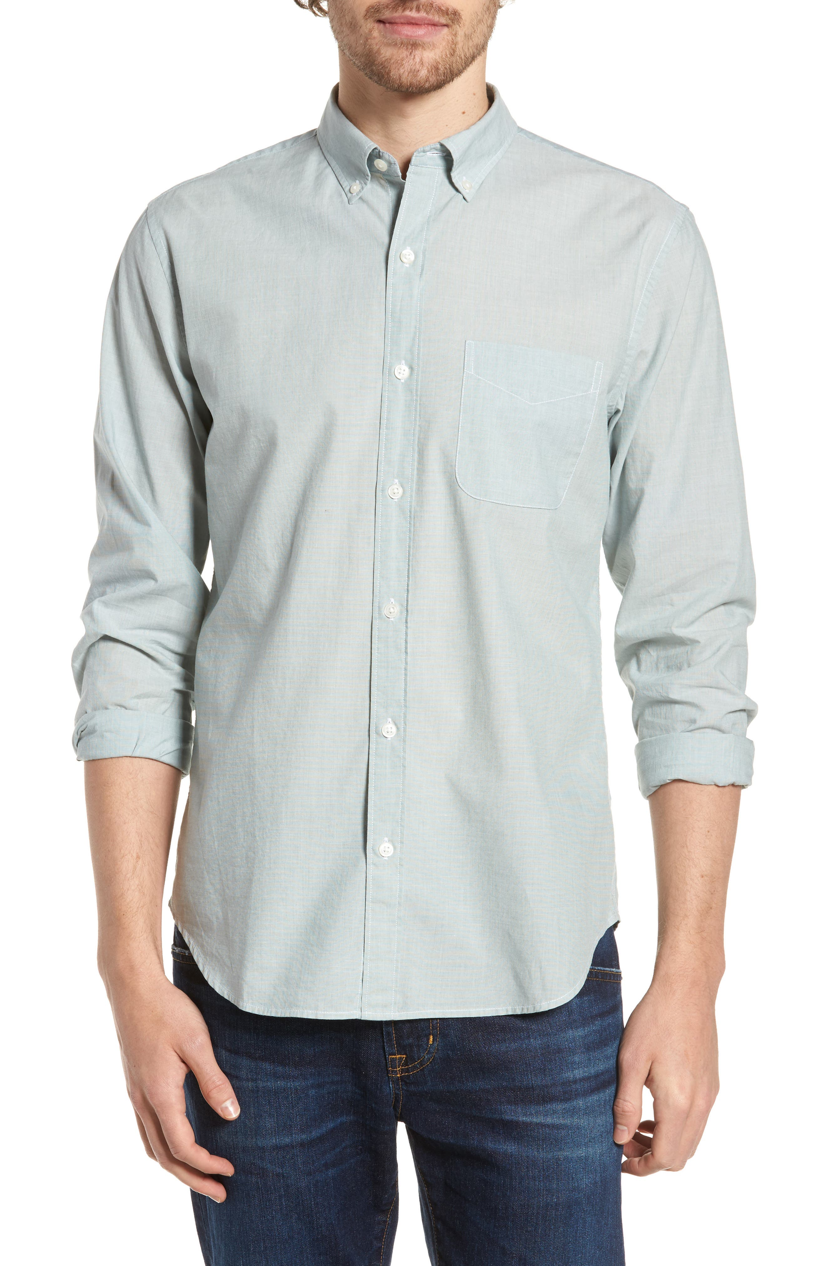 Slim Fit Summerweight Sport Shirt,                         Main,                         color, End On End Solid - Green